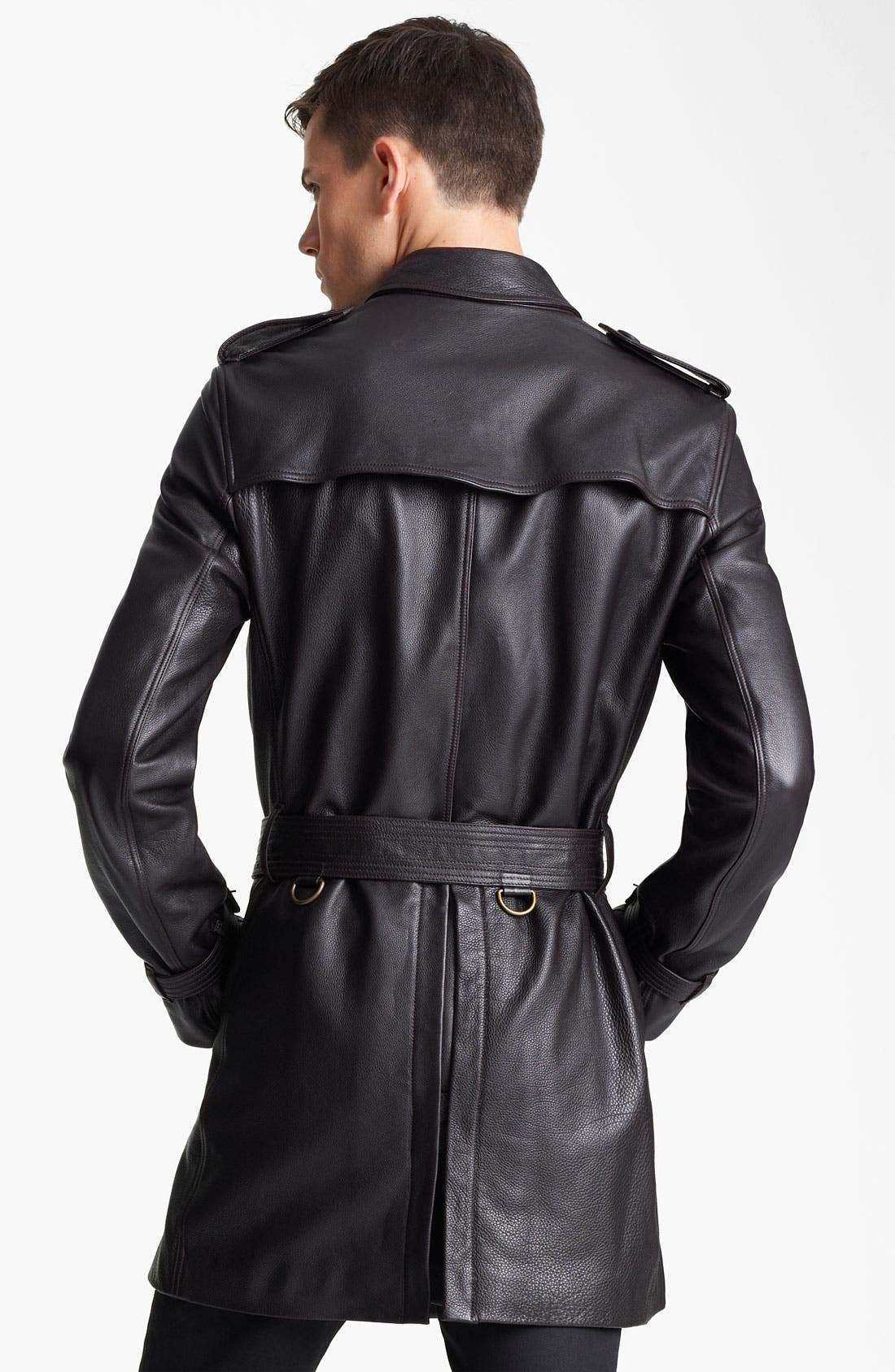Alternate Image 2  - Burberry London Belted Leather Trench Coat