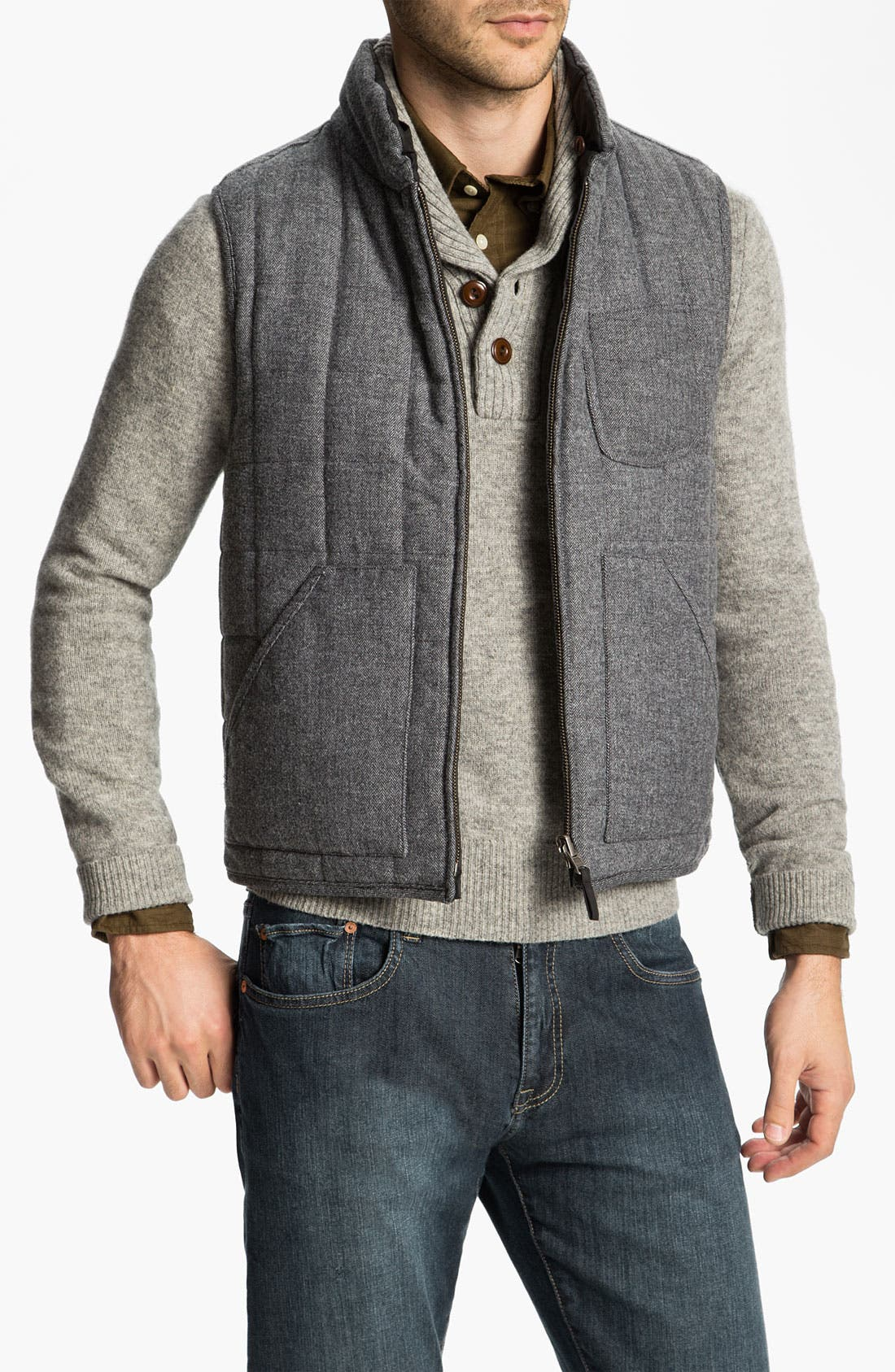 Alternate Image 1 Selected - Façonnable Herringbone Tweed & Waxed Cotton Quilted Vest