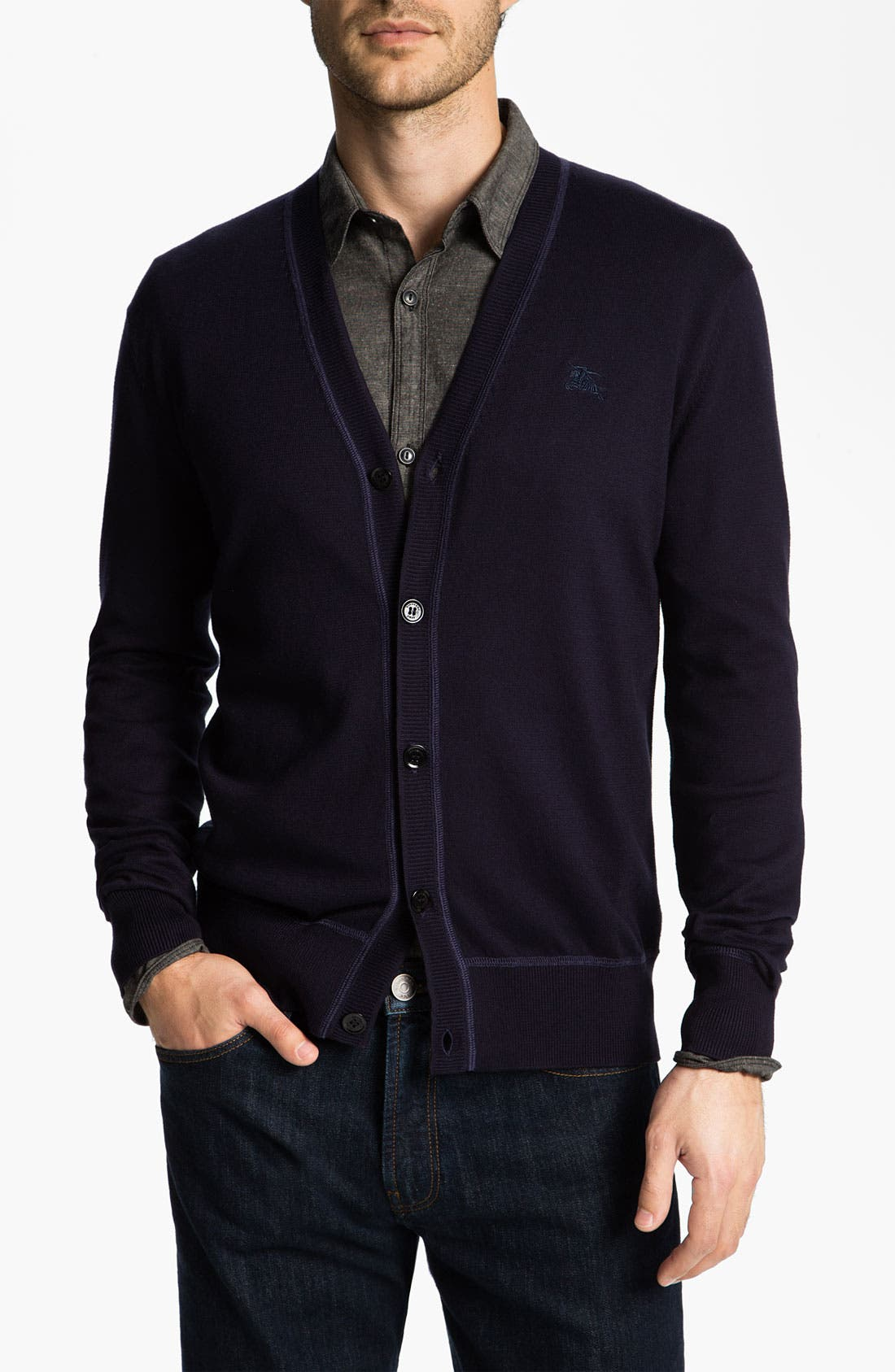 Alternate Image 1 Selected - Burberry Brit Elbow Patch Cardigan