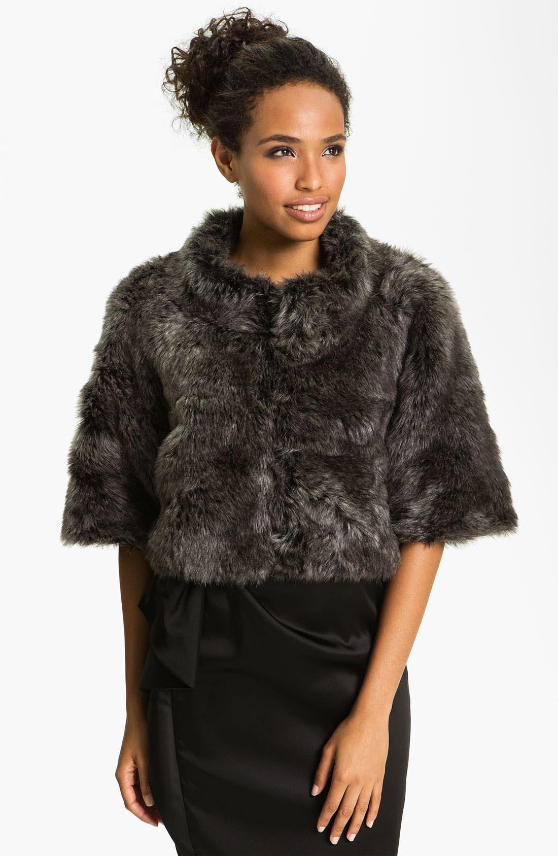 Alternate Image 1 Selected - Eliza J Dolman Sleeve Faux Fur Bolero