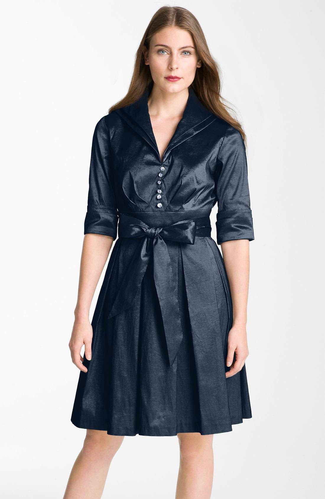 Main Image - Donna Ricco Metallic Fit & Flare Taffeta Shirtdress (Regular & Petite)