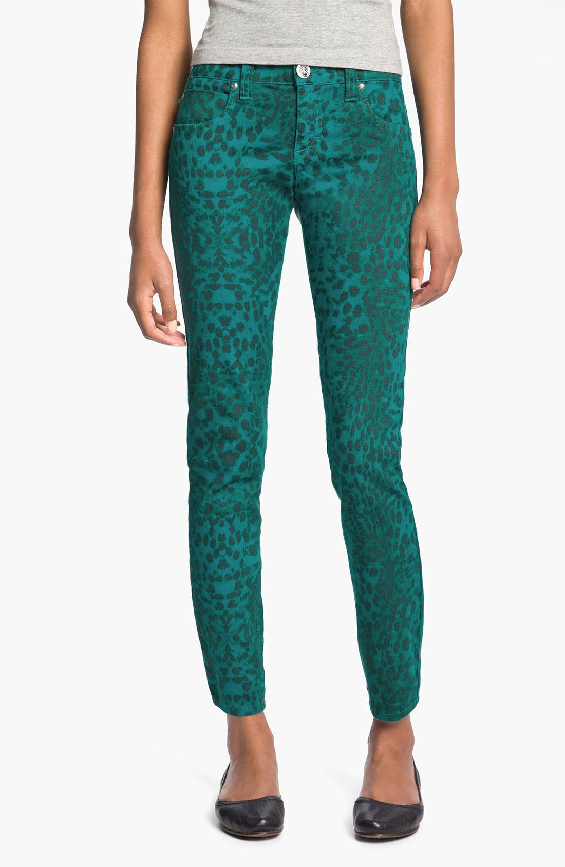 Main Image - See Thru Soul 'Fame' Animal Print Skinny Jeans (Juniors)