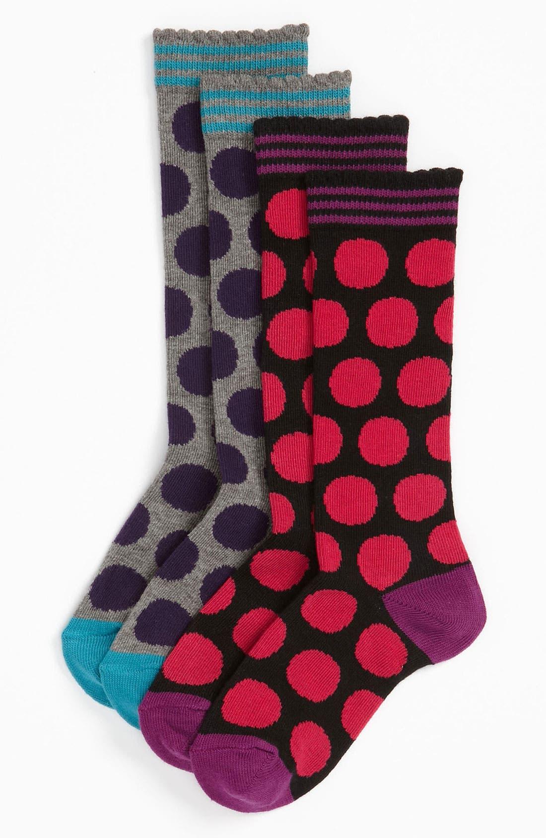 Alternate Image 1 Selected - Nordstrom 'Mega Dot' Knee High Socks (2-Pack) (Toddler, Little Girls & Big Girls)