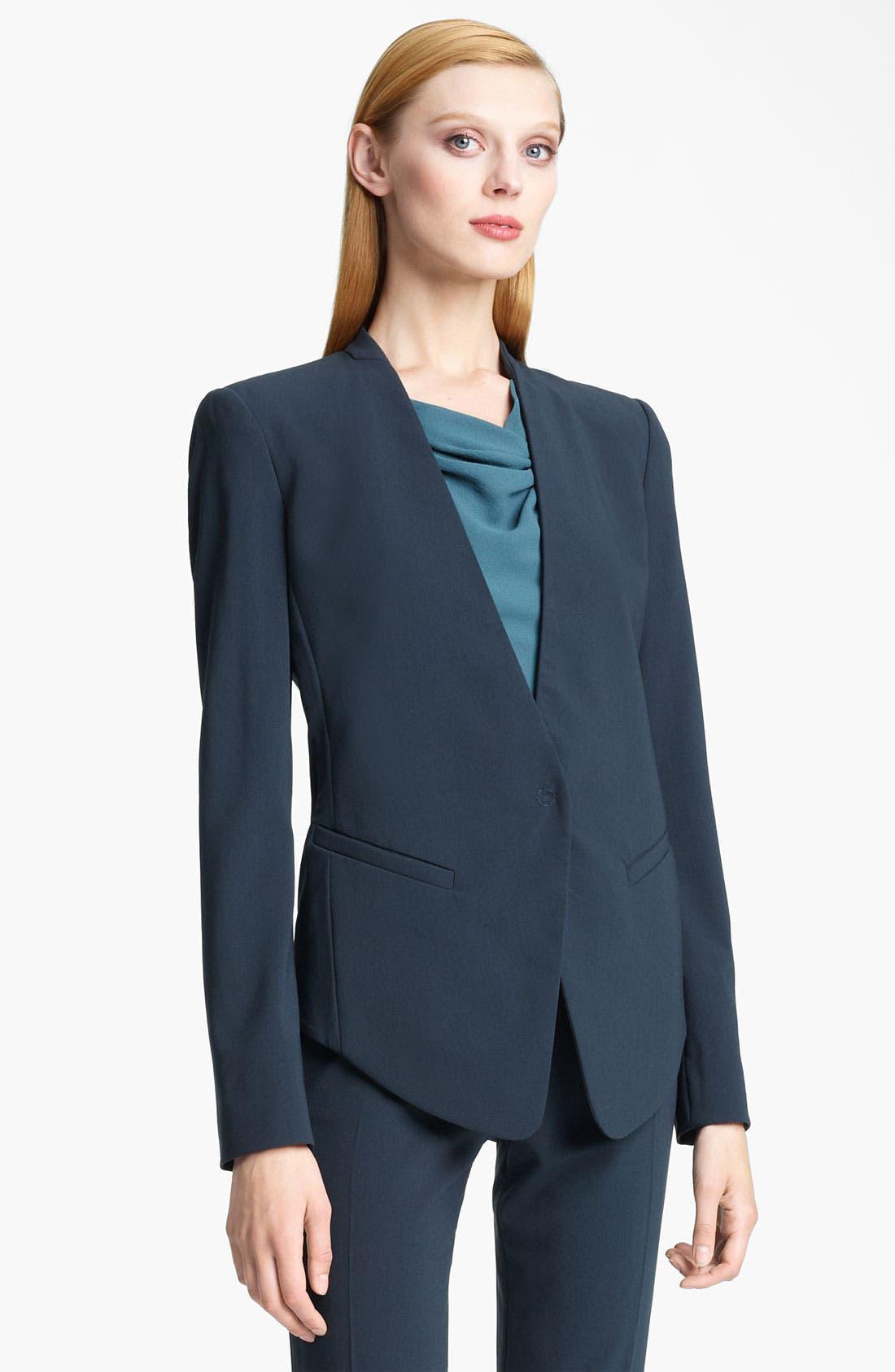 Main Image - Armani Collezioni Collarless Crepe Jacket