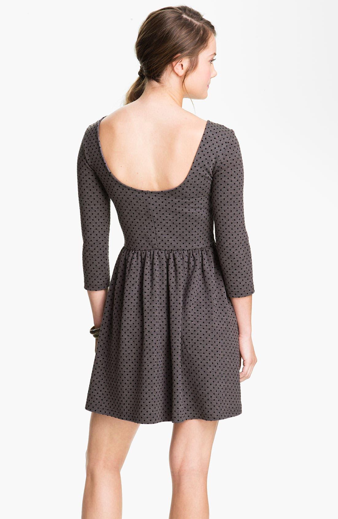 Alternate Image 2  - Frenchi® Velvet Polka Dot Dress (Juniors)
