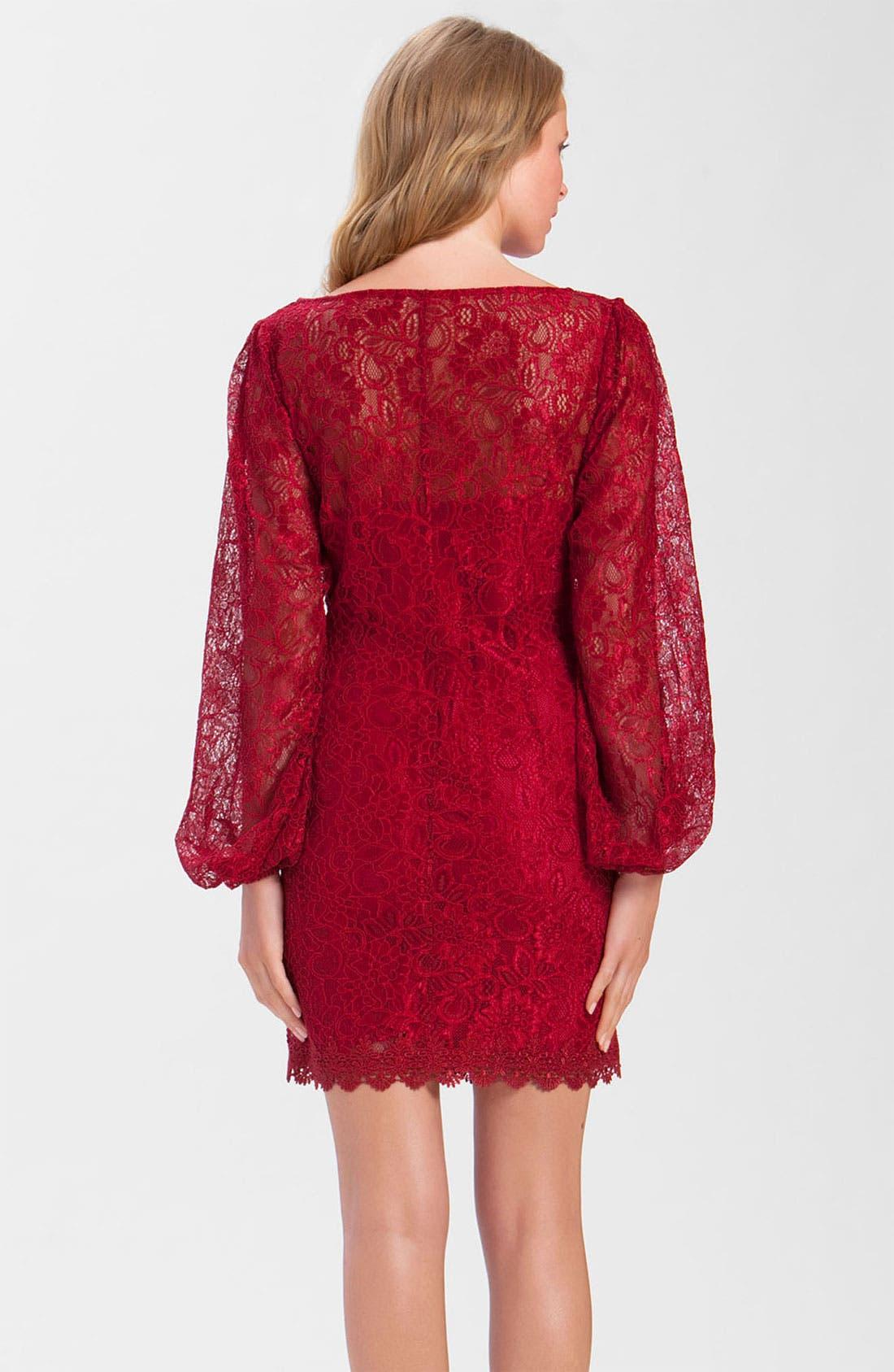 Alternate Image 2  - Laundry by Shelli Segal Split Sleeve Lace Dress