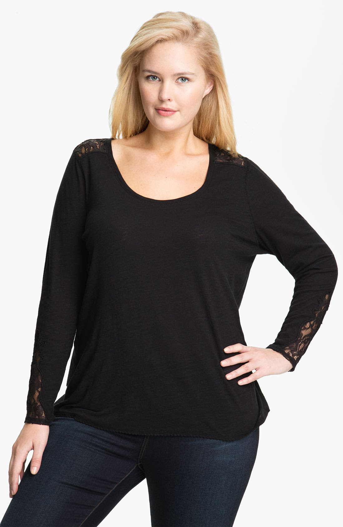 Alternate Image 1 Selected - Lucky Brand Lace Inset Tee (Plus)