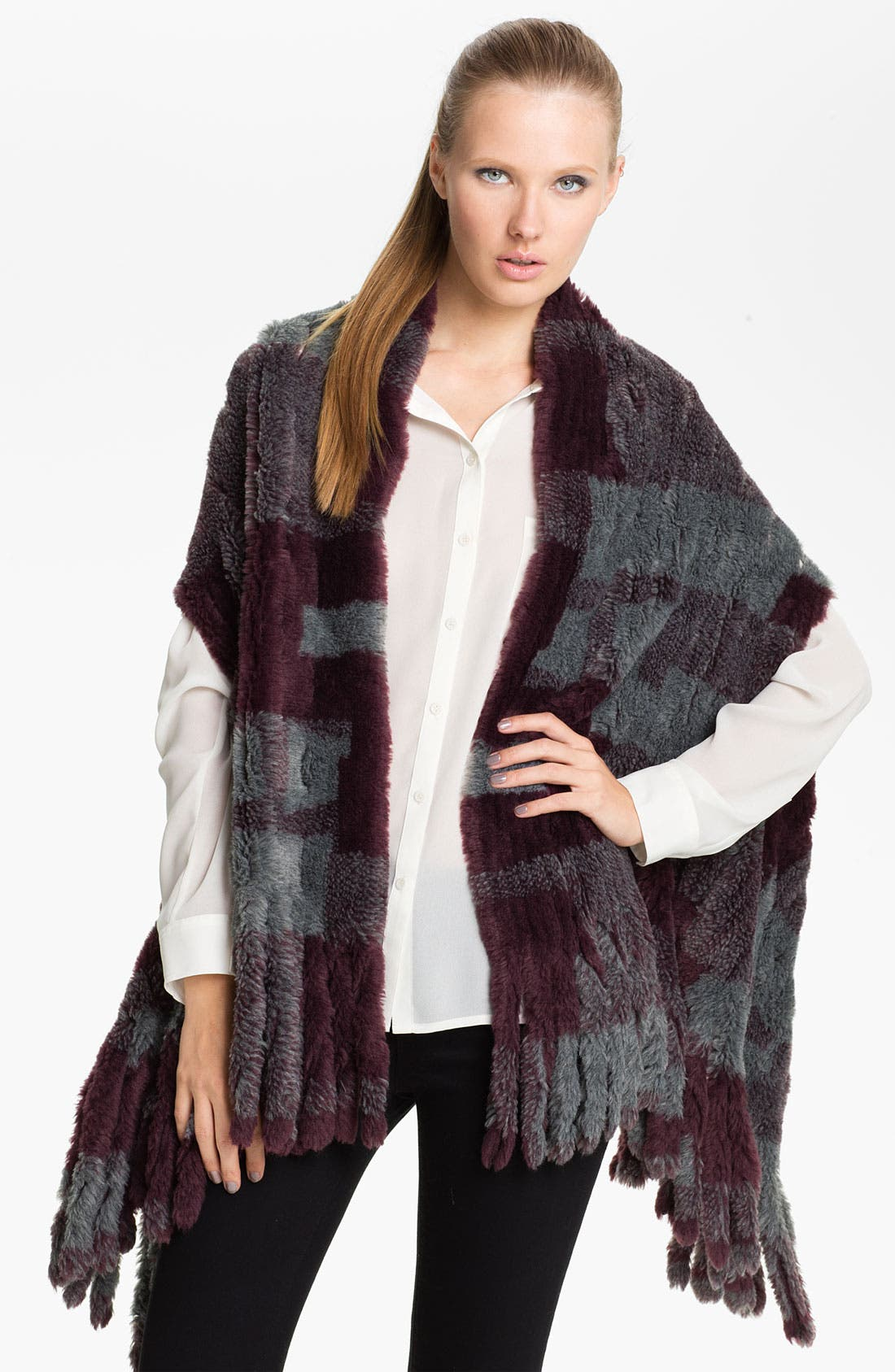 Alternate Image 1 Selected - Nordstrom Plaid Faux Fur Vest Scarf