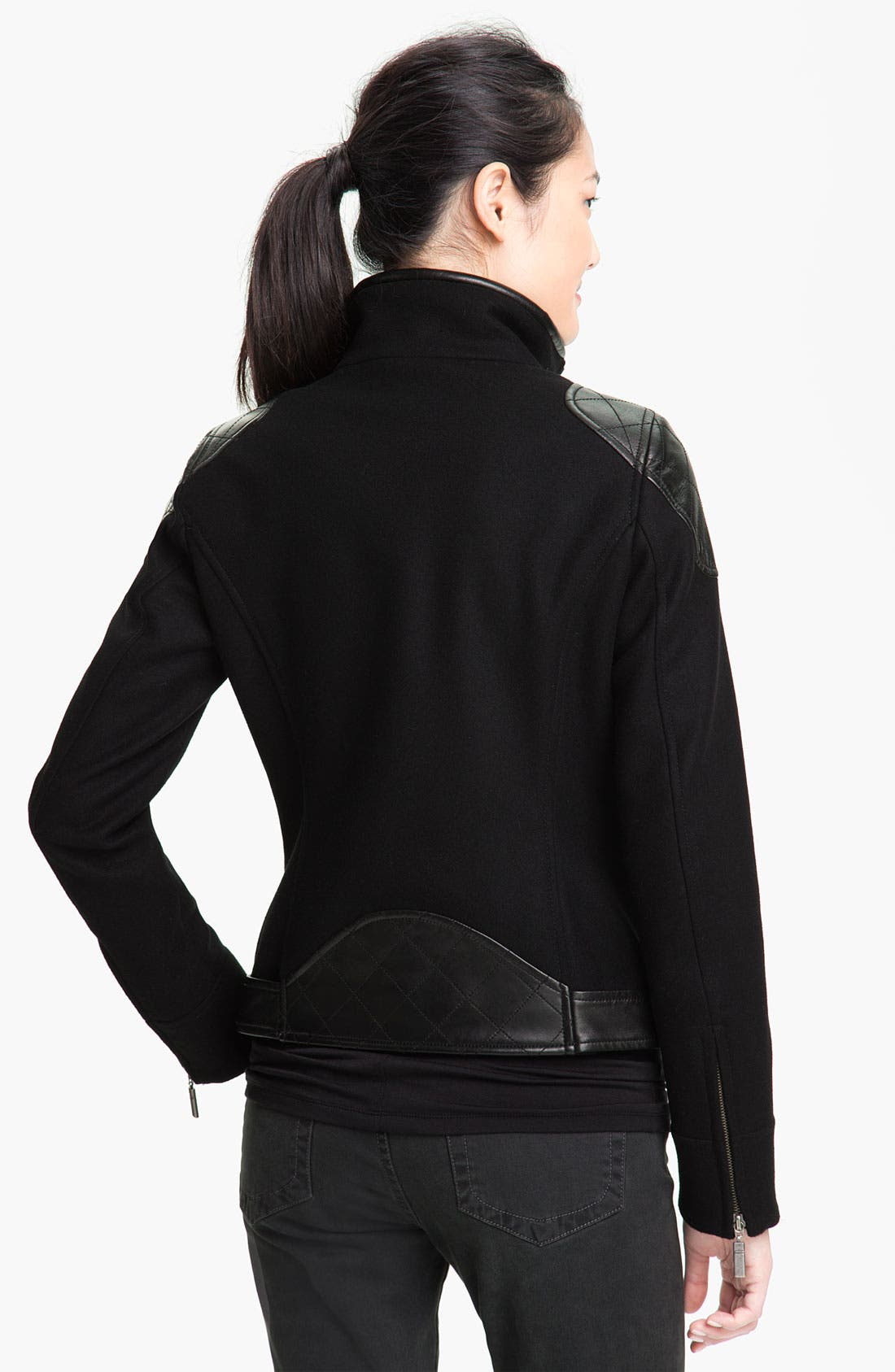 Alternate Image 2  - Trina Turk Leather Trim Moto Jacket