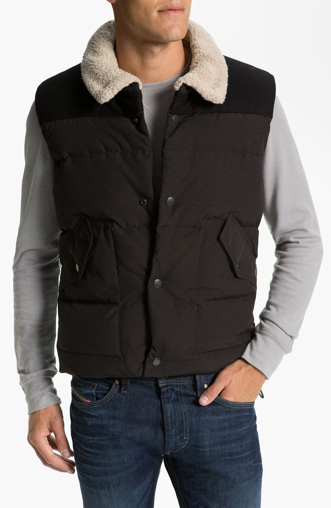 Alternate Image 1 Selected - J.C. Rags Quilted Puffer Vest with Faux Shearling Trim