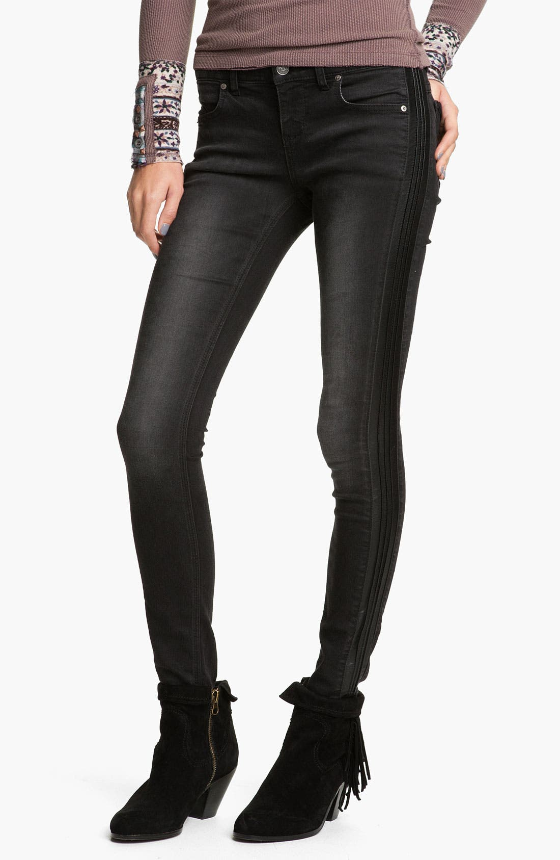 Alternate Image 1 Selected - Free People Faux Leather Trim Skinny Jeans (Abyss)