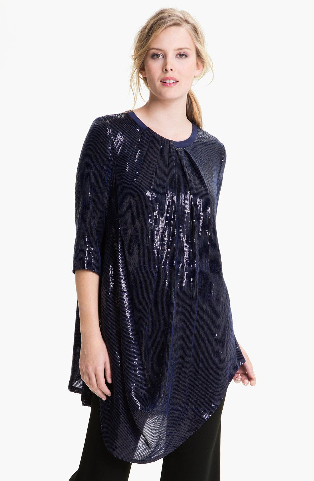 Main Image - Lafayette 148 New York Sequin Silk Georgette Tunic