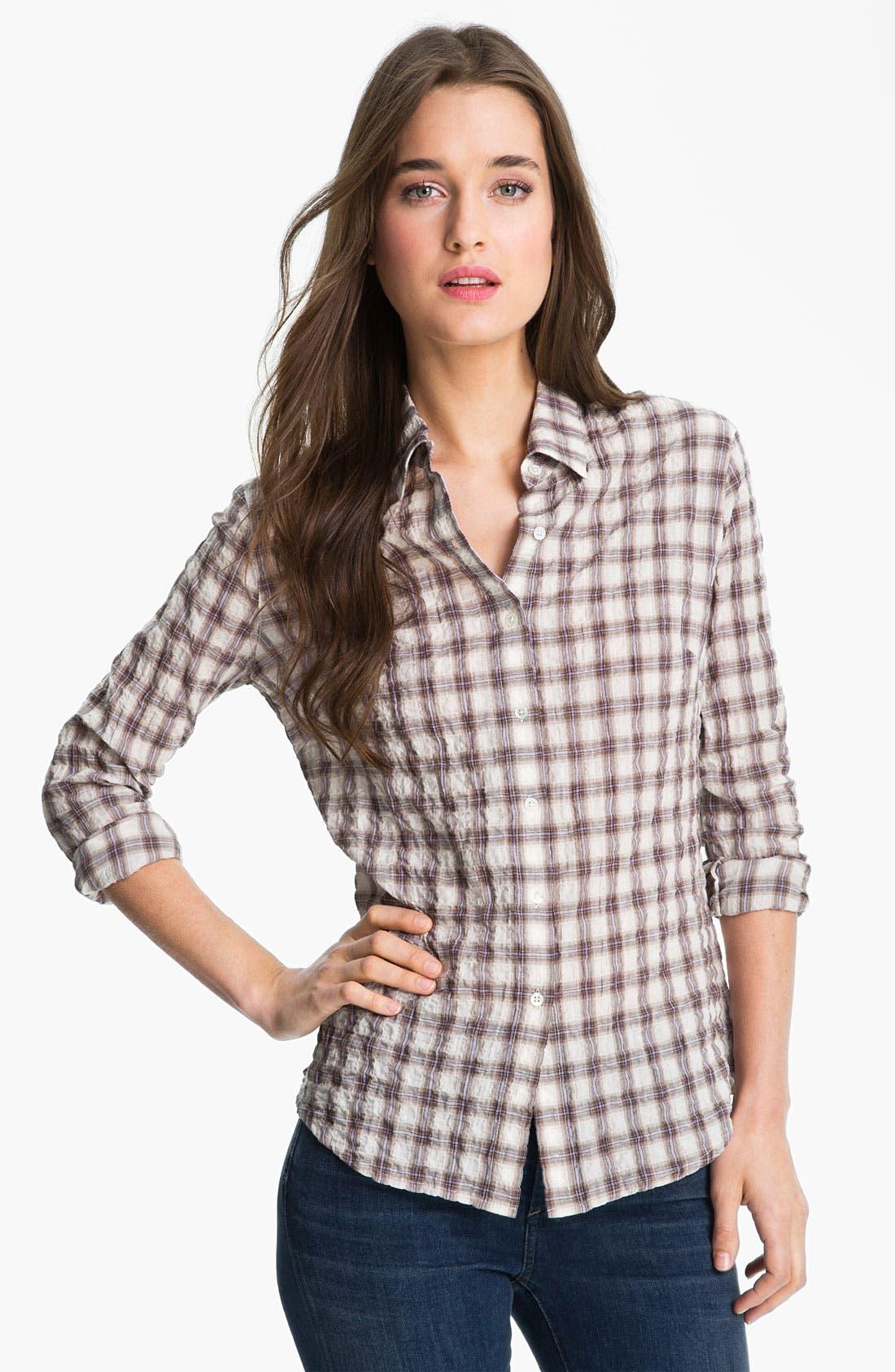 Alternate Image 1 Selected - James Perse 'Tomboy' Plaid Crinkle Shirt