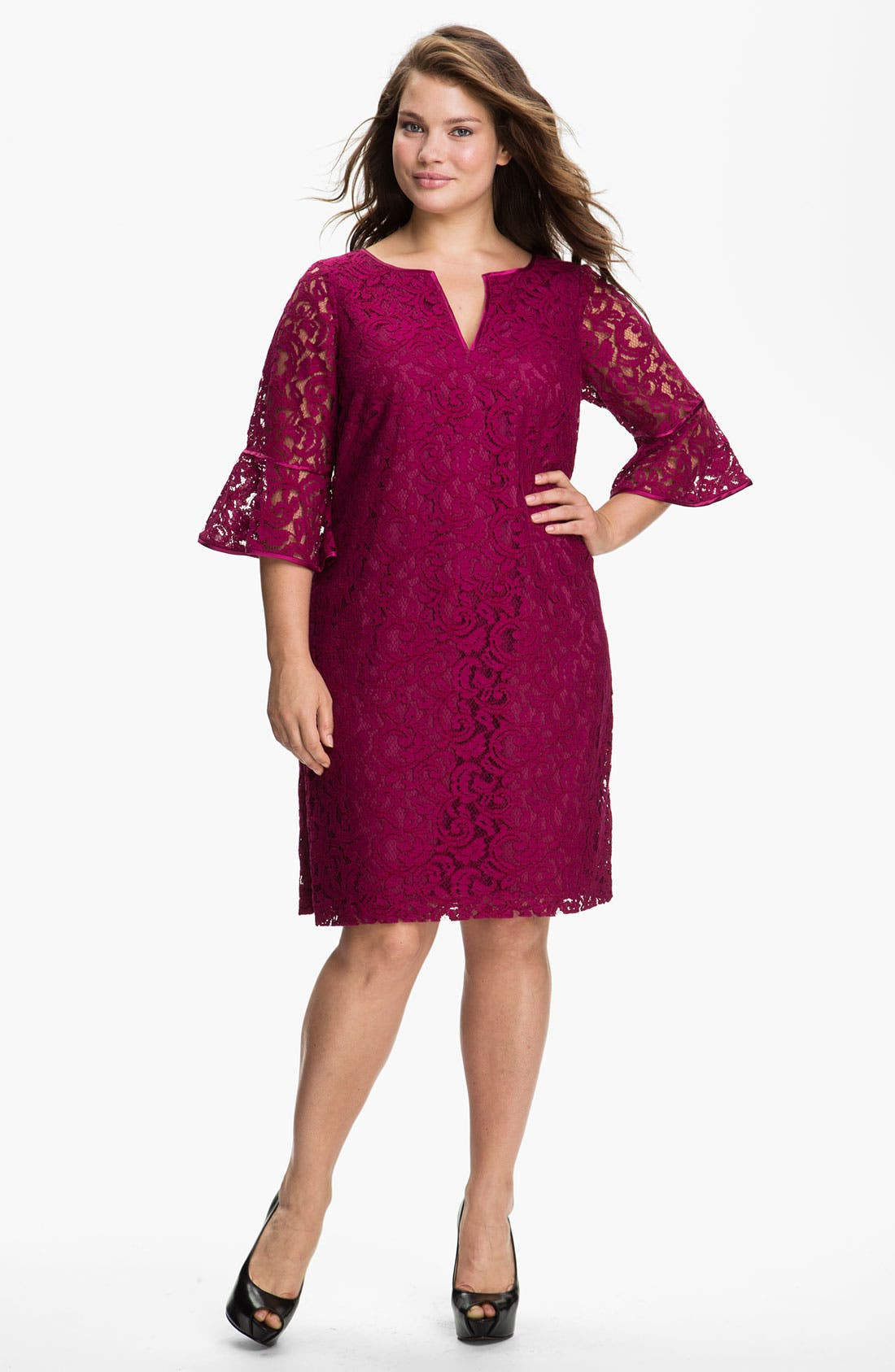 Main Image - Adrianna Papell Satin Trim Lace Shift Dress (Plus)