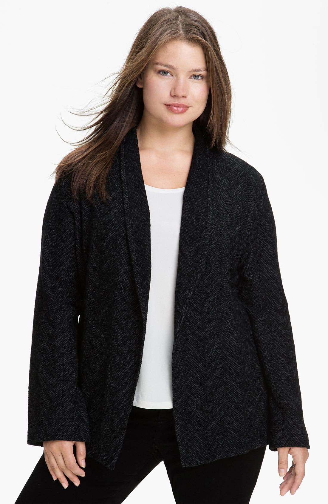 Main Image - Eileen Fisher Herringbone Jacket (Plus)