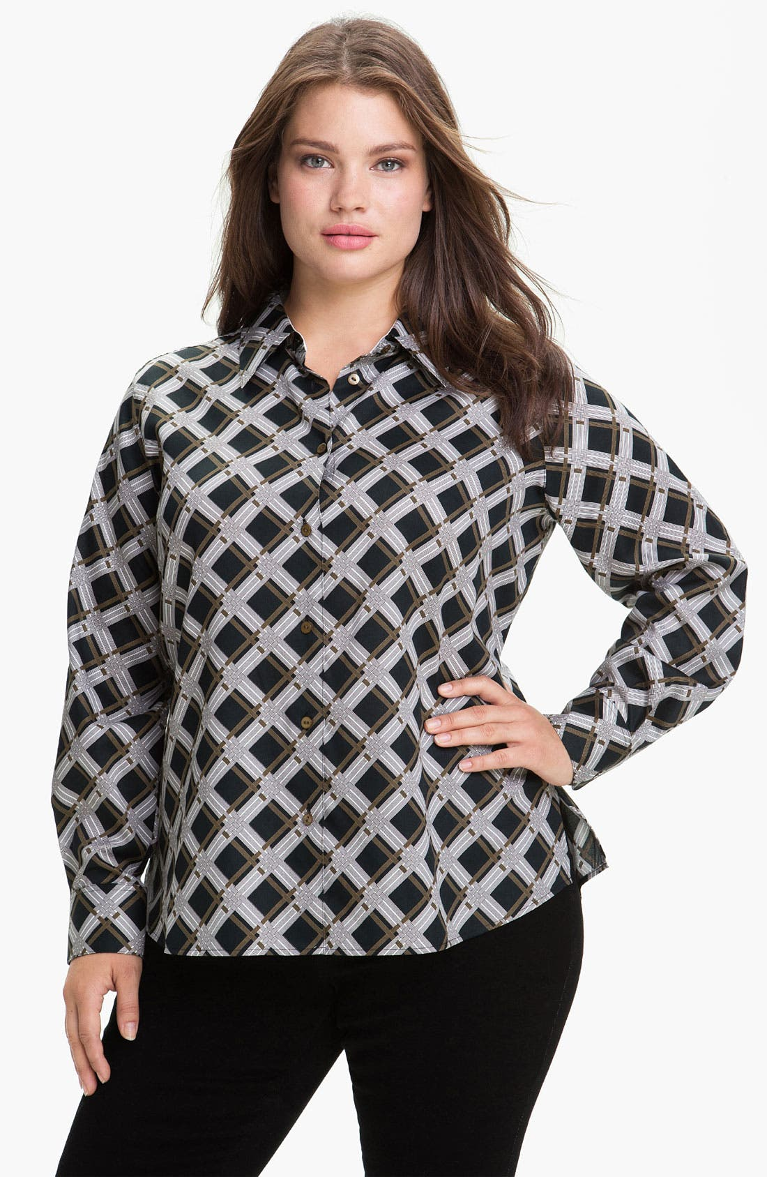 Alternate Image 1 Selected - Foxcroft 'Graphic Plaid' Wrinkle Free Shaped Shirt (Plus)