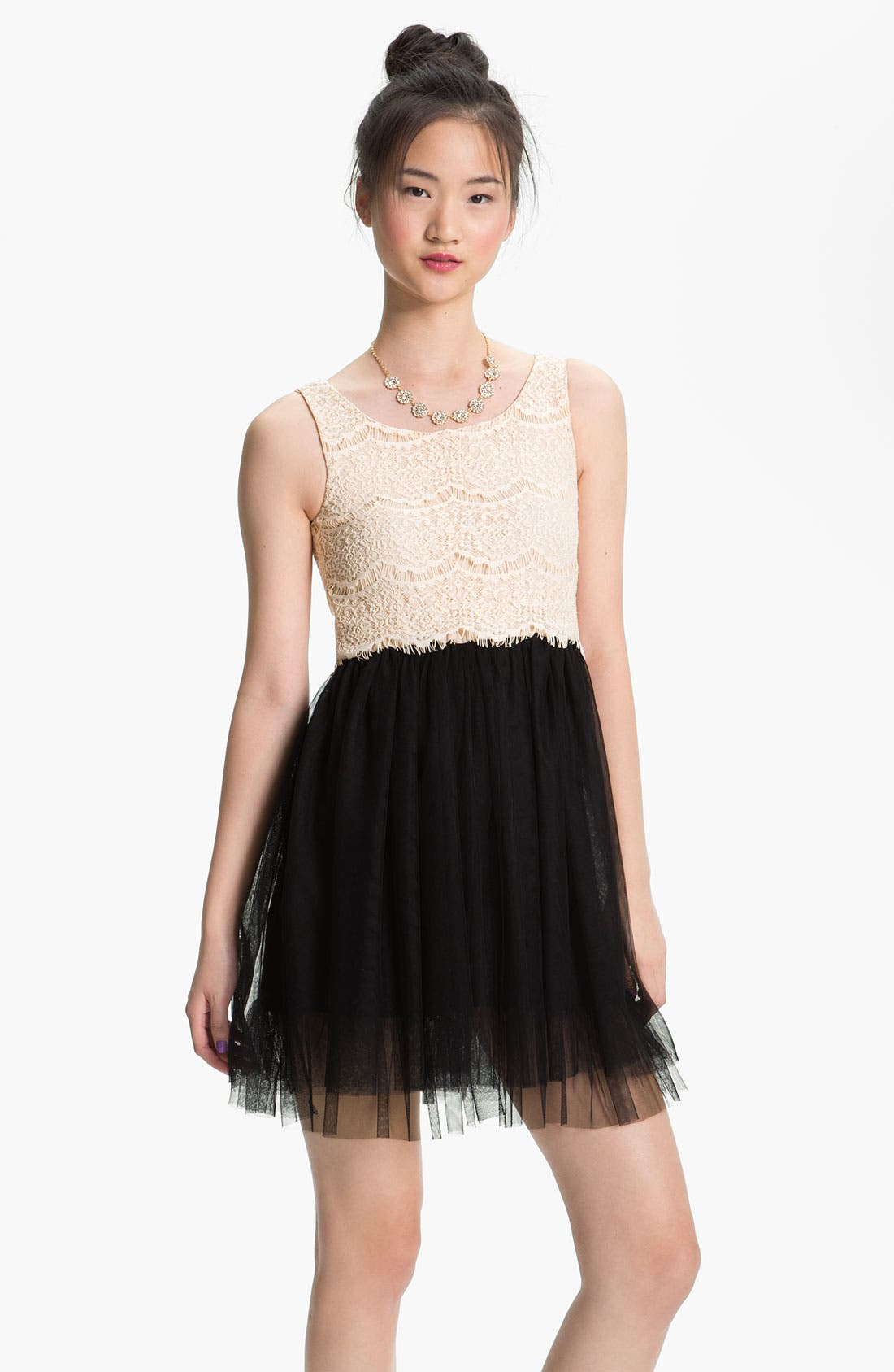 Alternate Image 1 Selected - As U Wish Lace & Tulle Dress (Juniors)
