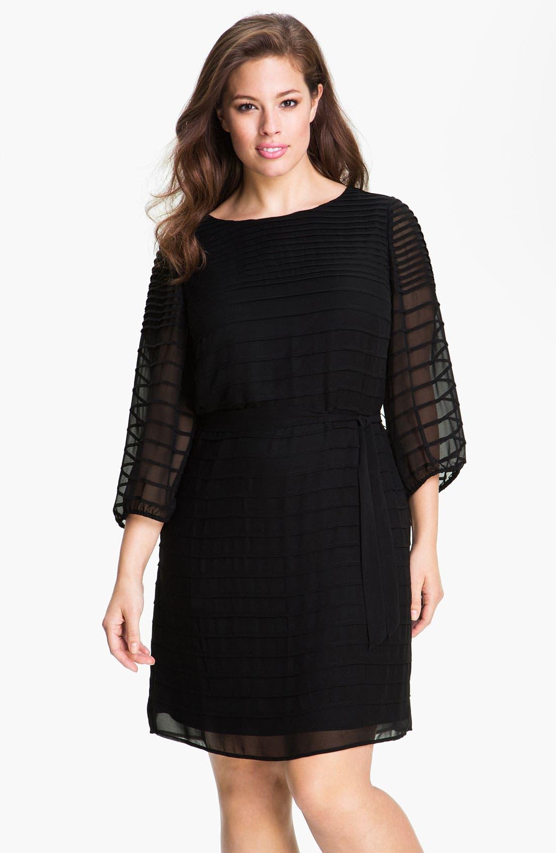Alternate Image 1 Selected - Calvin Klein Belted Pintuck Chiffon Dress (Plus)