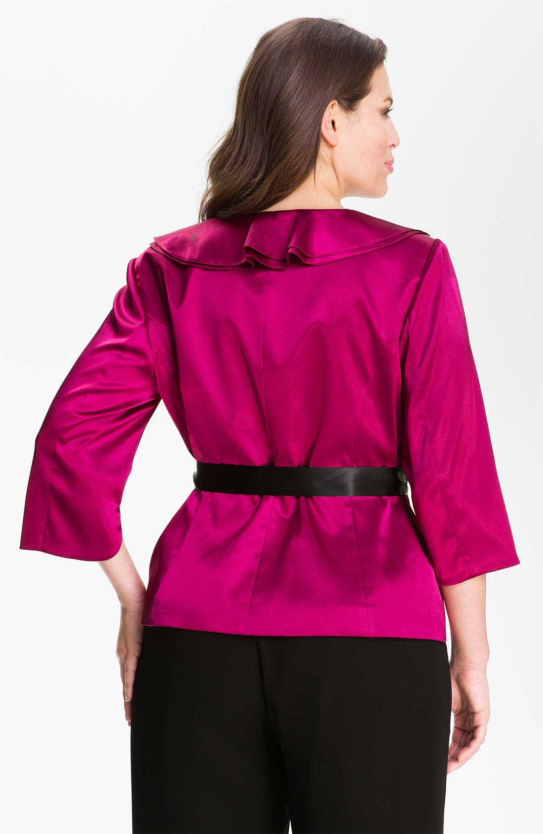 Alternate Image 2  - Adrianna Papell Ruffle Charmeuse Jacket (Plus)