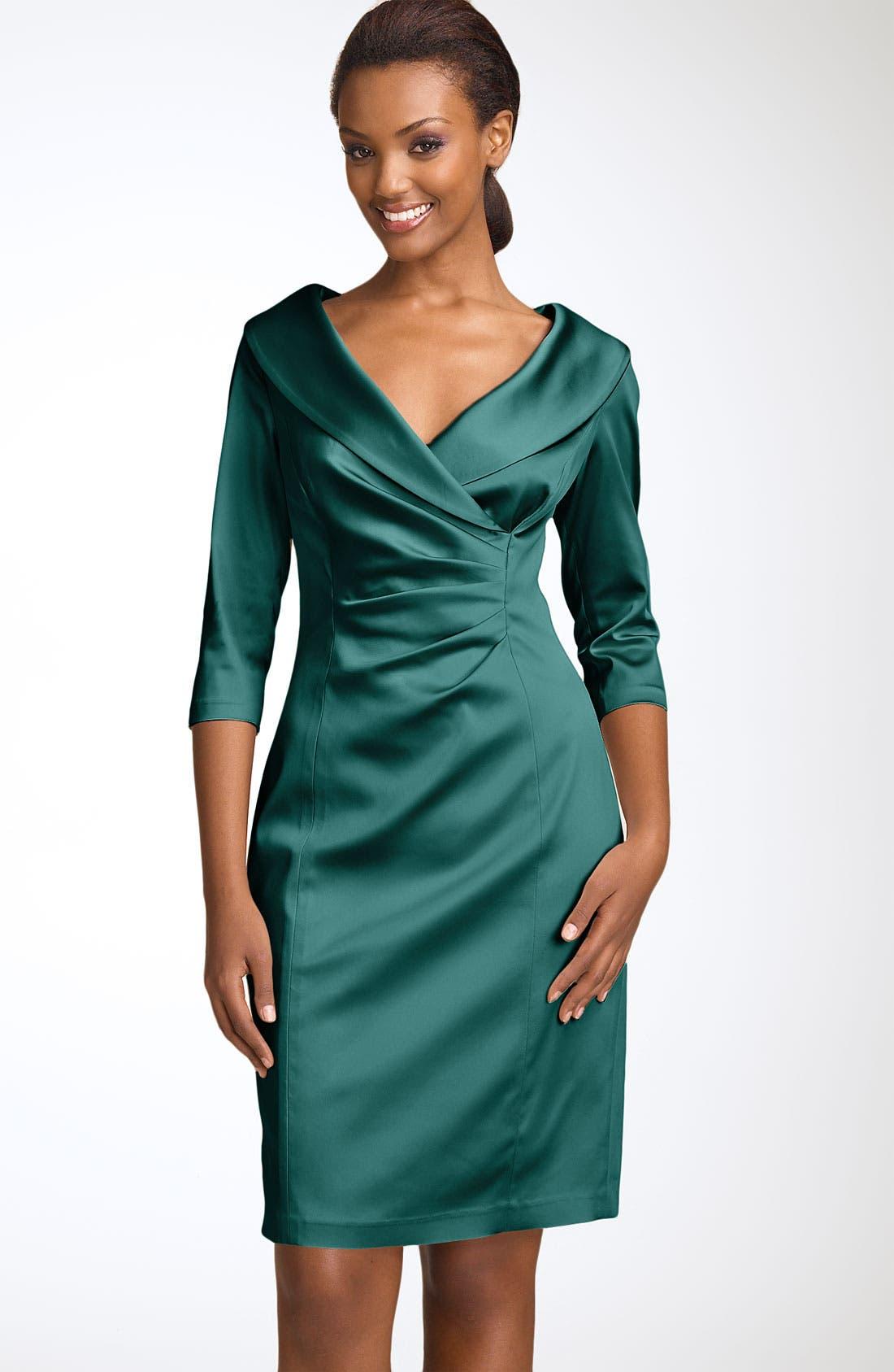 Alternate Image 1 Selected - Kay Unger Stretch Satin Sheath Dress
