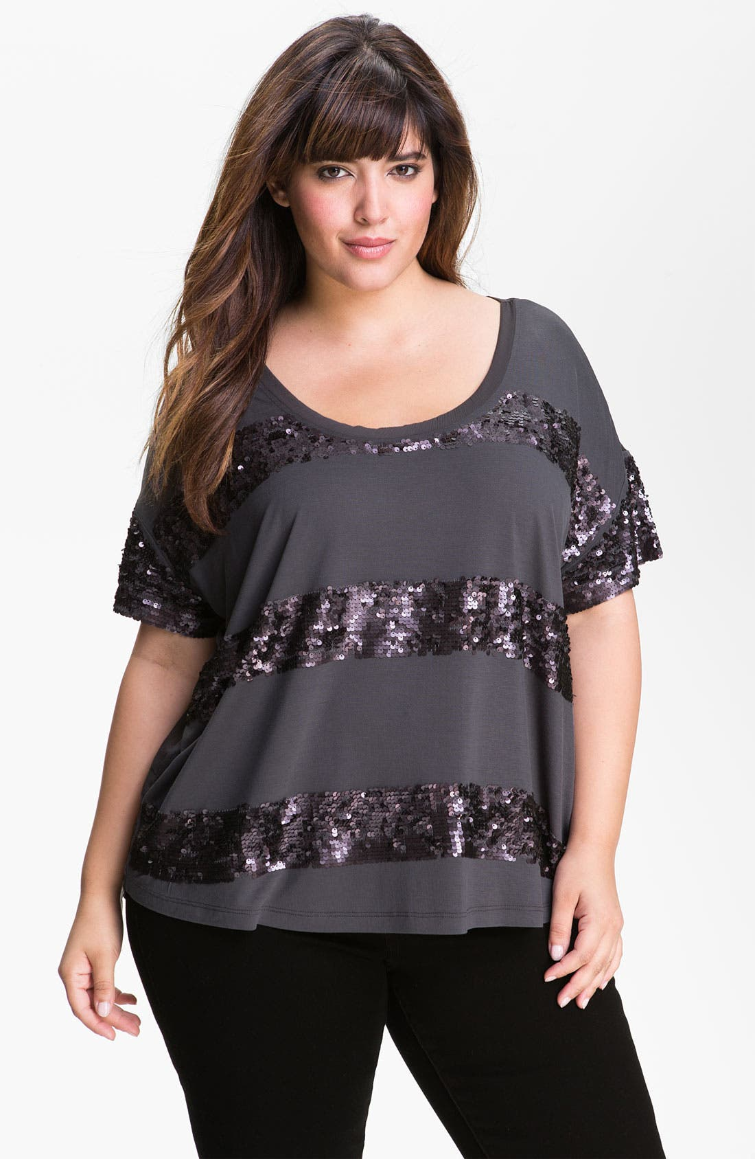 Main Image - Kische Paillette Trim Mixed Media Top (Plus Size)