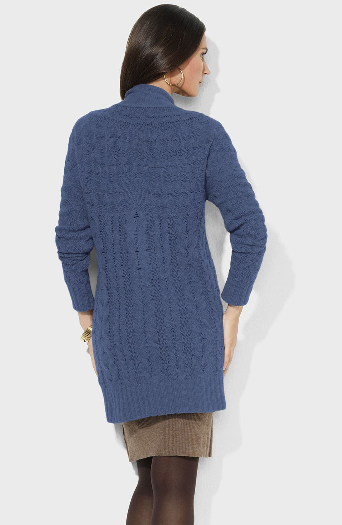 Alternate Image 2  - Lauren Ralph Lauren Long Cable Cardigan (Petite)