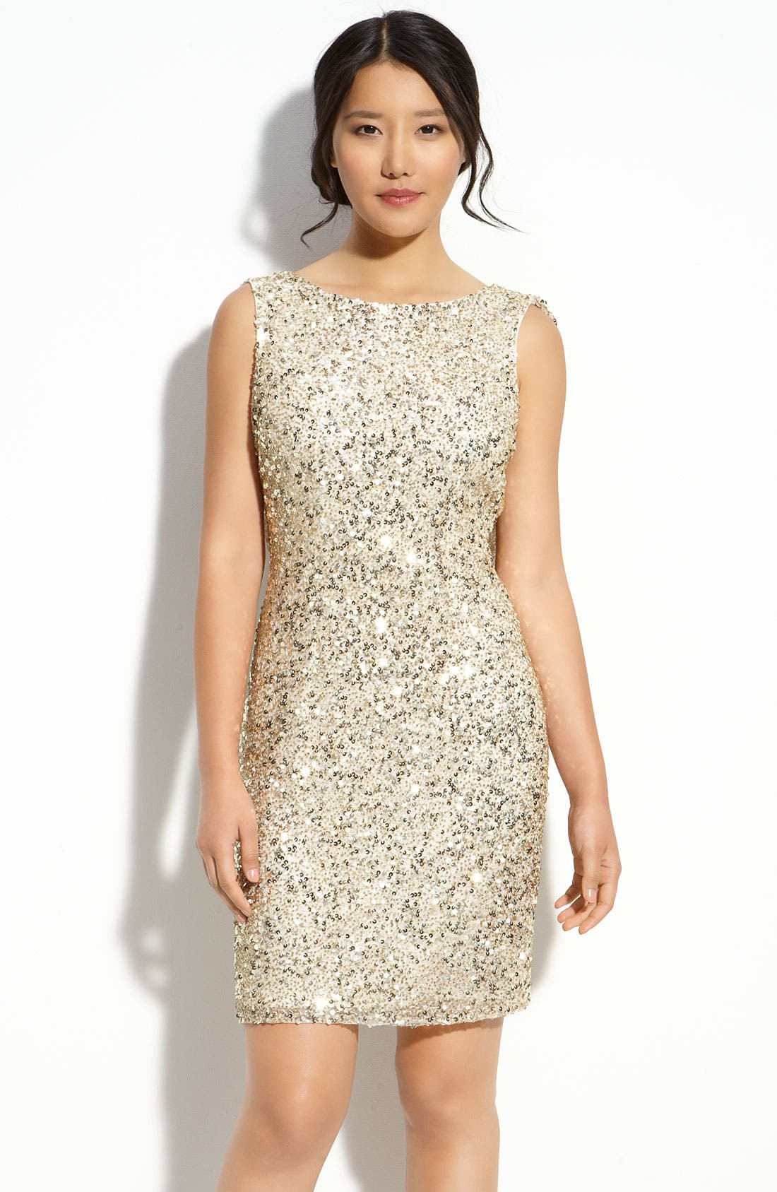 Main Image - Pisarro Nights Drape Back Sequin Dress (Petite)