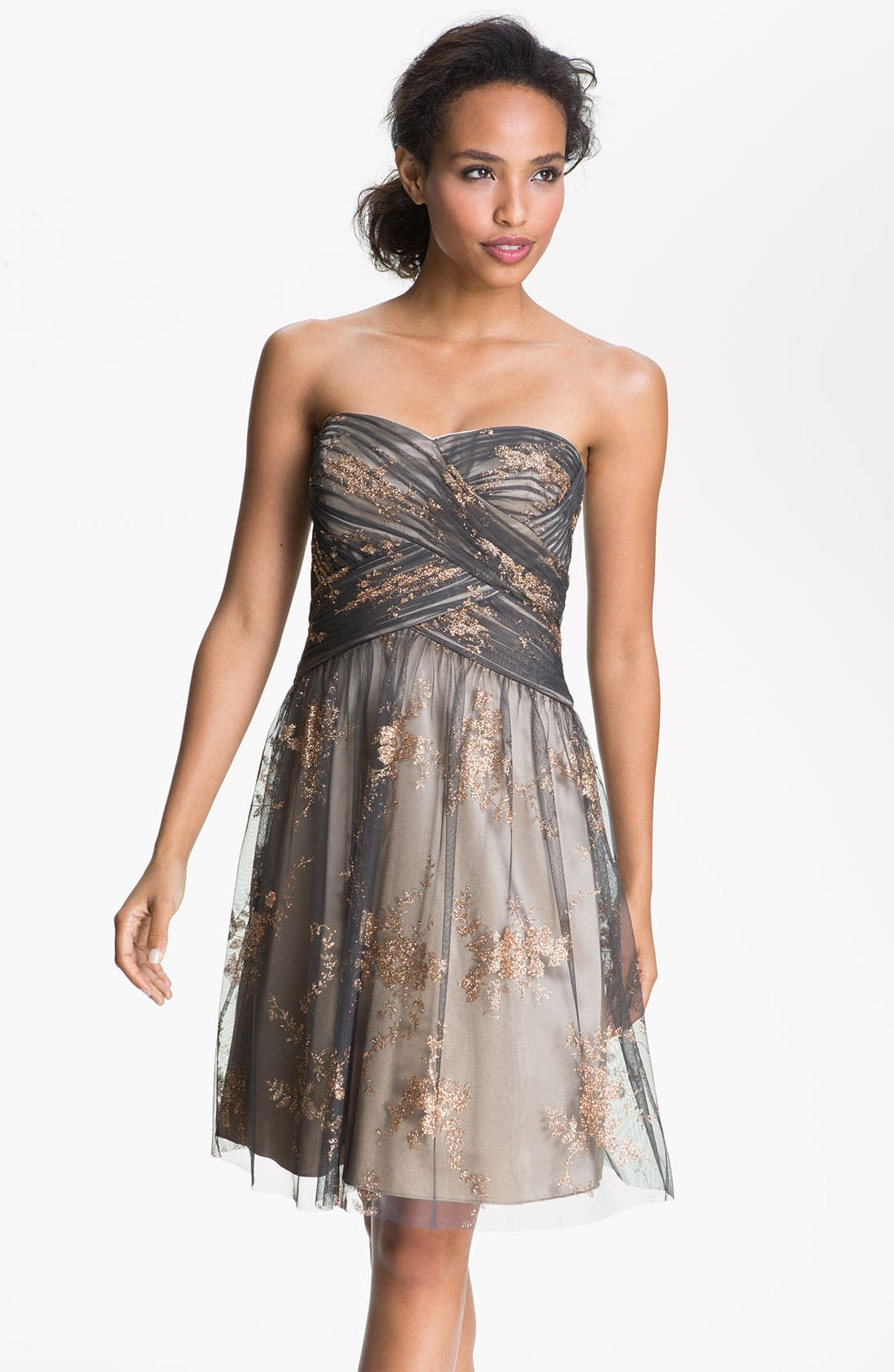 Alternate Image 1 Selected - Hailey by Adrianna Papell Strapless Glitter Tulle Dress