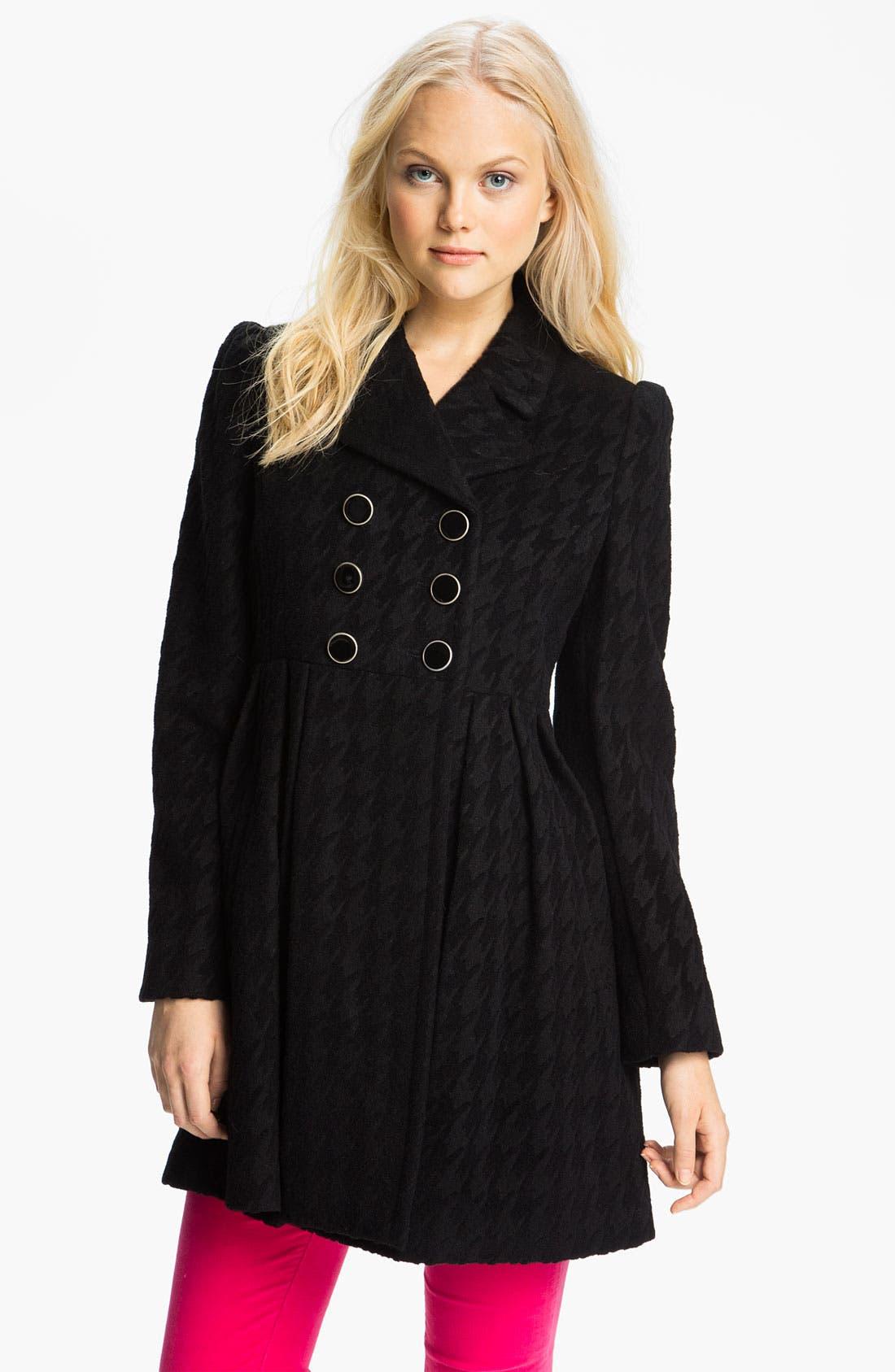 Alternate Image 1 Selected - Betsey Johnson Houndstooth Walking Coat