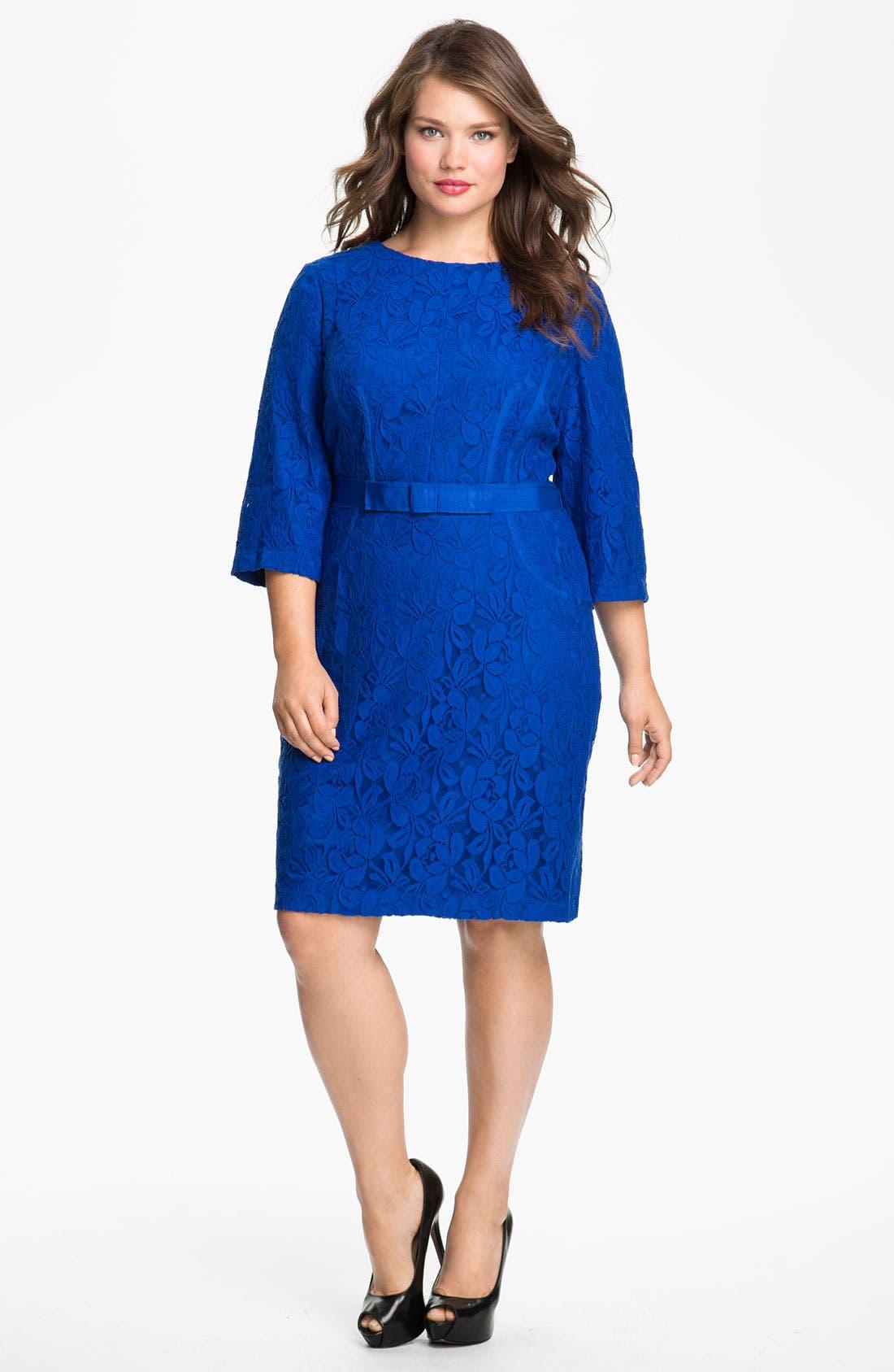 Main Image - Taylor Dresses Long Sleeve Lace Dress (Plus)