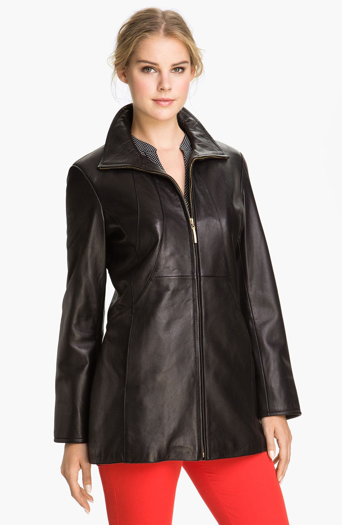 Main Image - Ellen Tracy Stand Collar Leather Topper (Nordstrom Exclusive)
