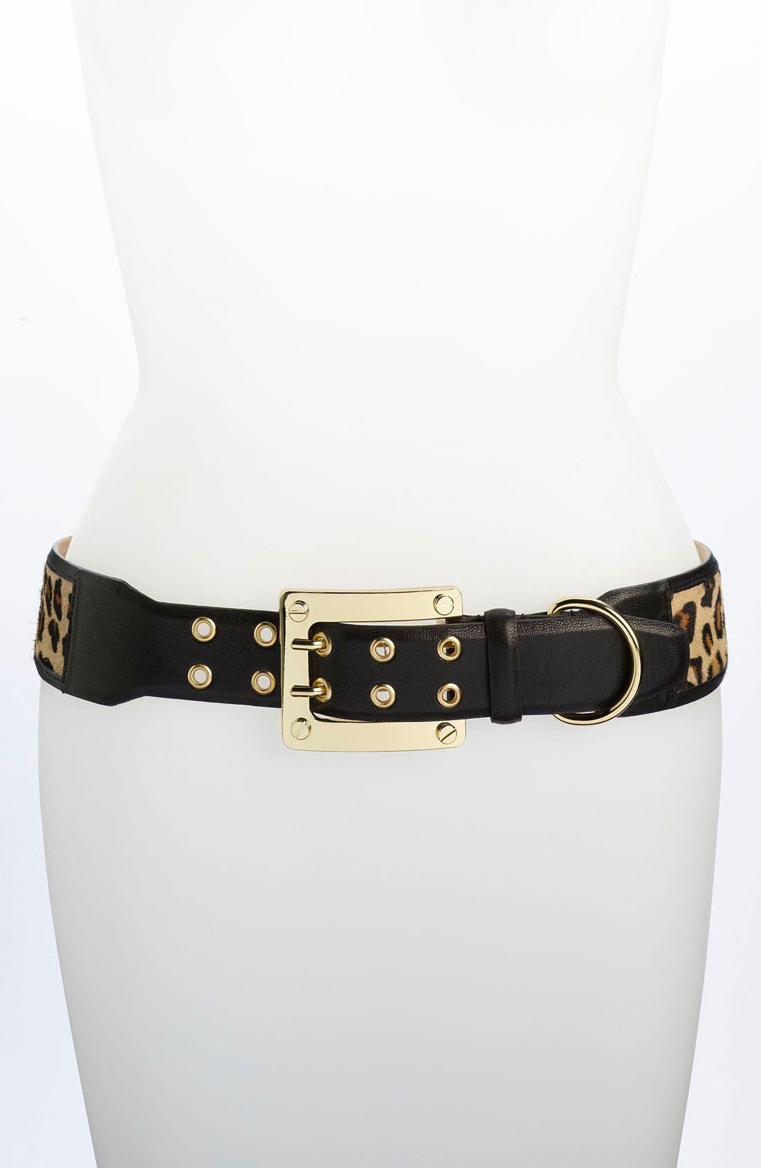 Alternate Image 1 Selected - Rachel Zoe Calf Hair & Leather Belt