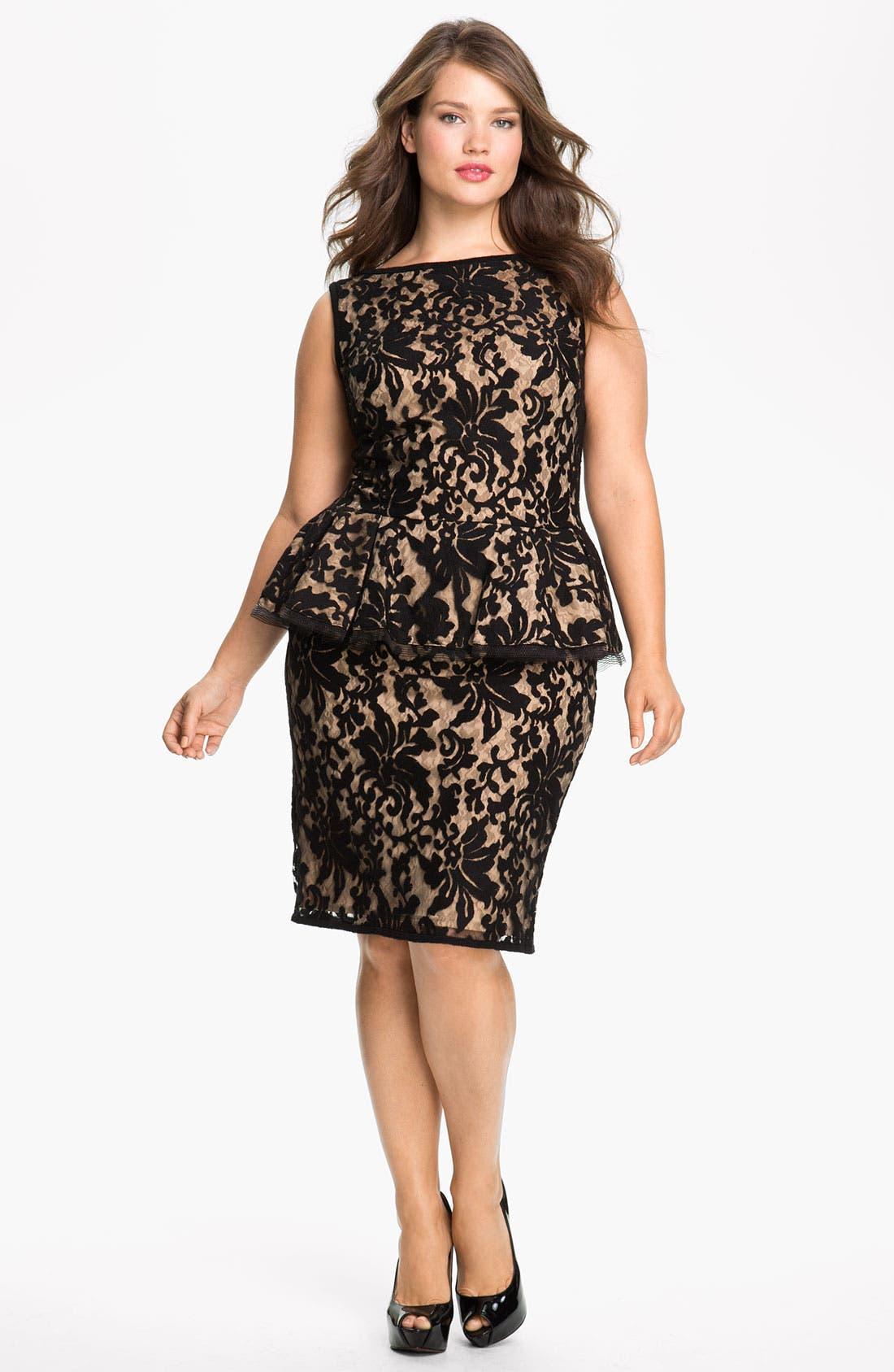 Alternate Image 1 Selected - Tadashi Shoji Lace Peplum Dress (Plus Size)