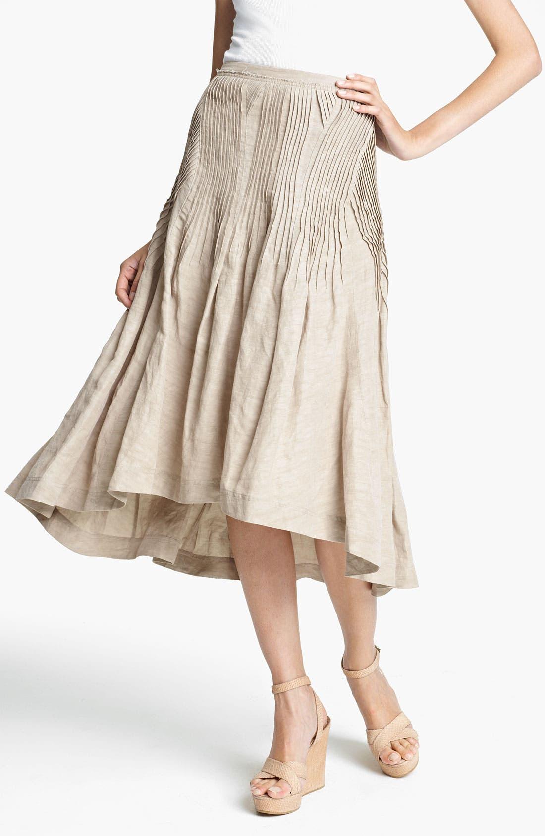 Main Image - Donna Karan Collection Pintuck Linen Blend Skirt