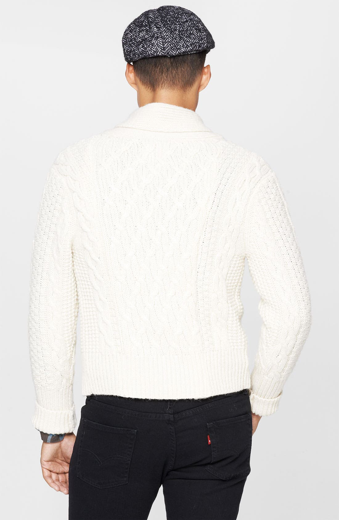 Alternate Image 2  - Levi's® Made & Crafted™ Cable Knit Shawl Collar Sweater
