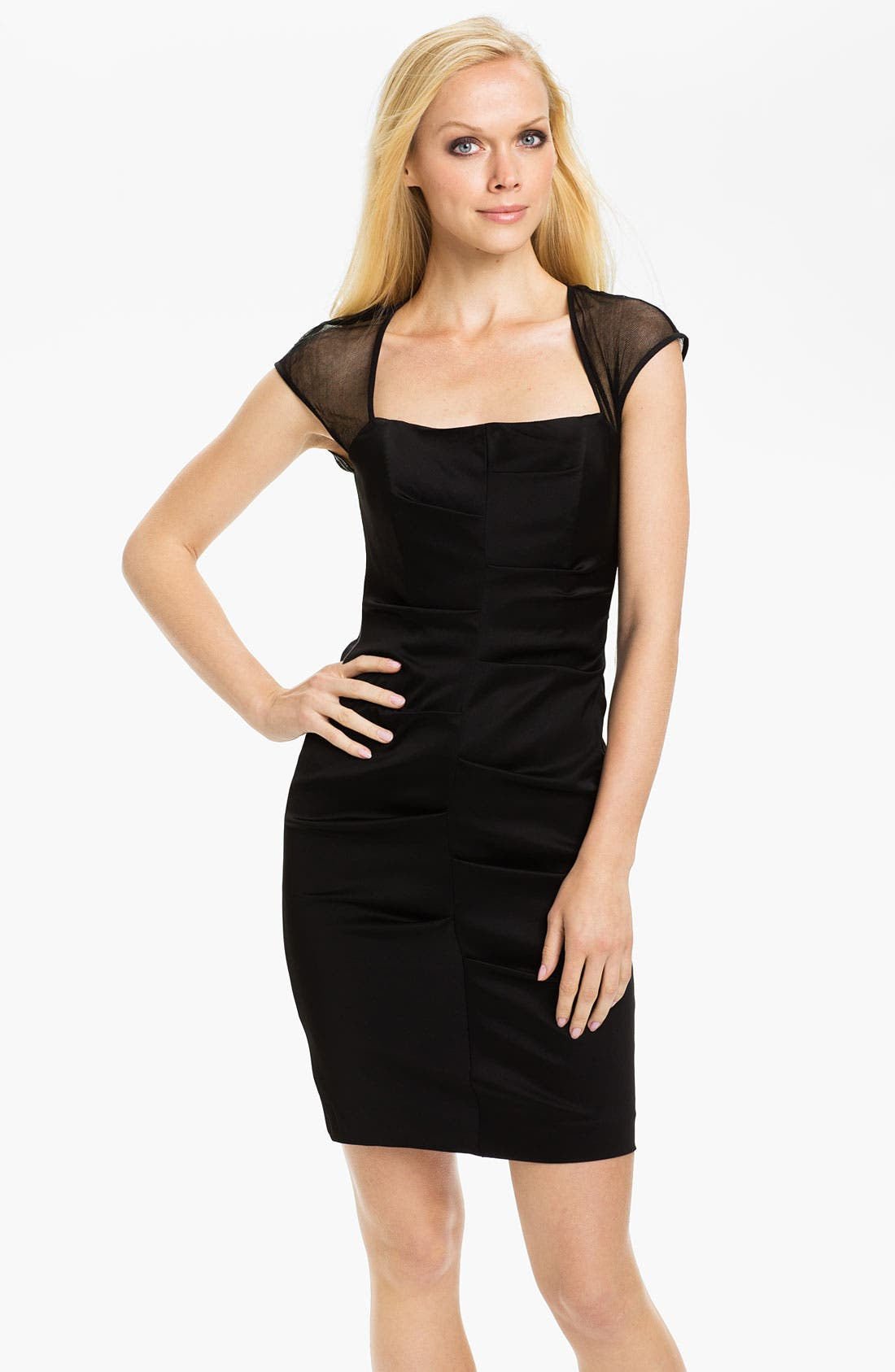 Main Image - Nicole Miller Illusion Cap Sleeve Satin Sheath Dress
