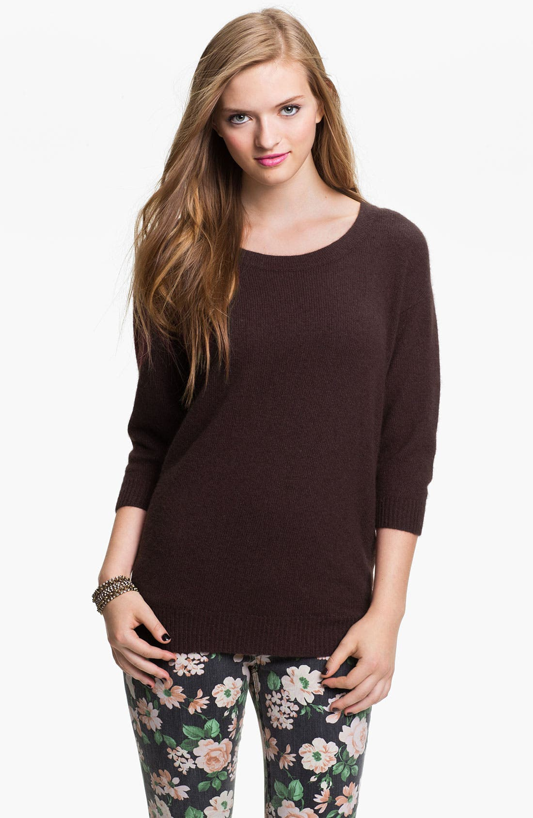 Main Image - Frenchi® Envelope Back Sweater (Juniors)