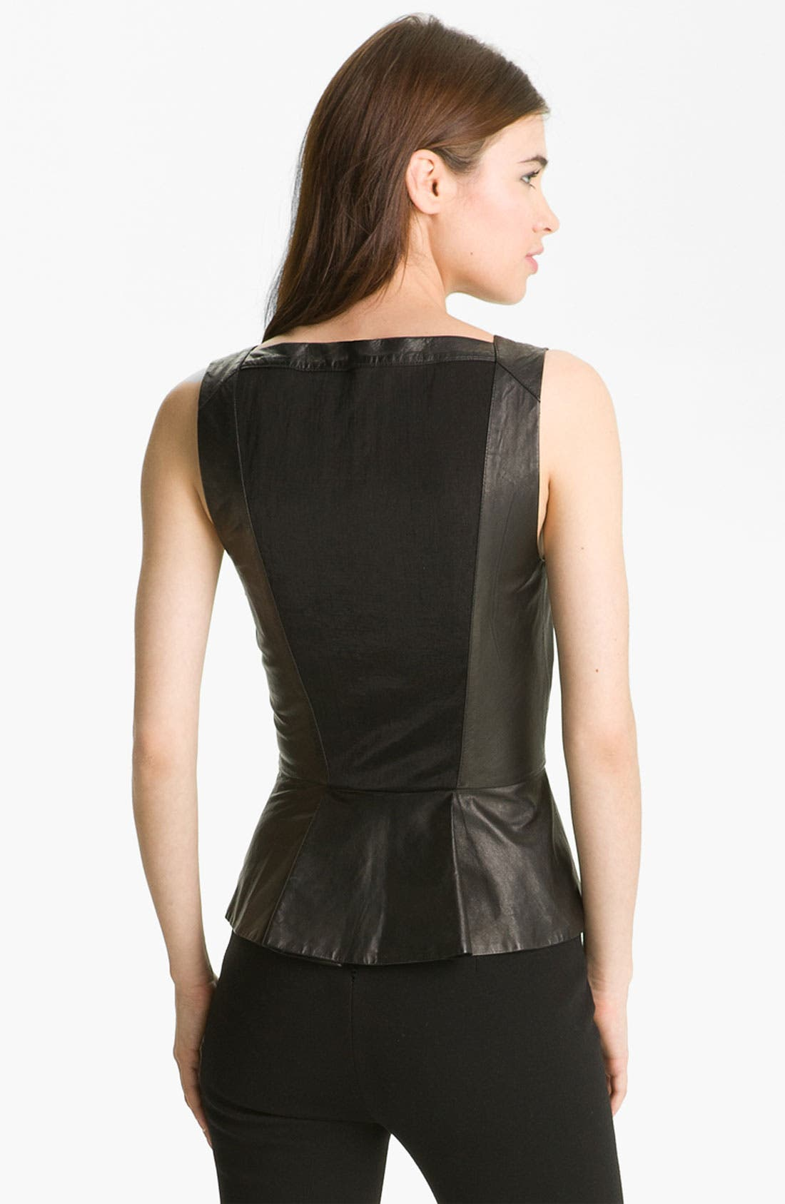 Alternate Image 2  - Robert Rodriguez Leather Peplum Tank