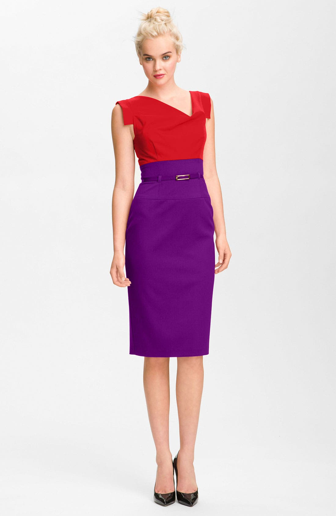 Main Image - Black Halo Colorblock Belted Sheath Dress