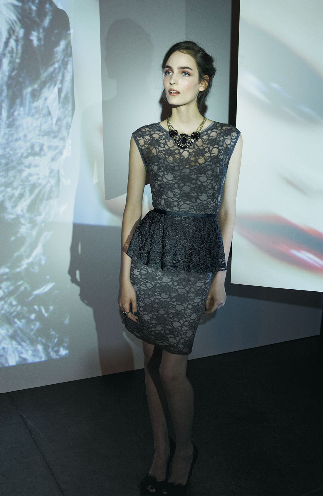 Alternate Image 2  - Eliza J Peplum Lace Overlay Sheath Dress