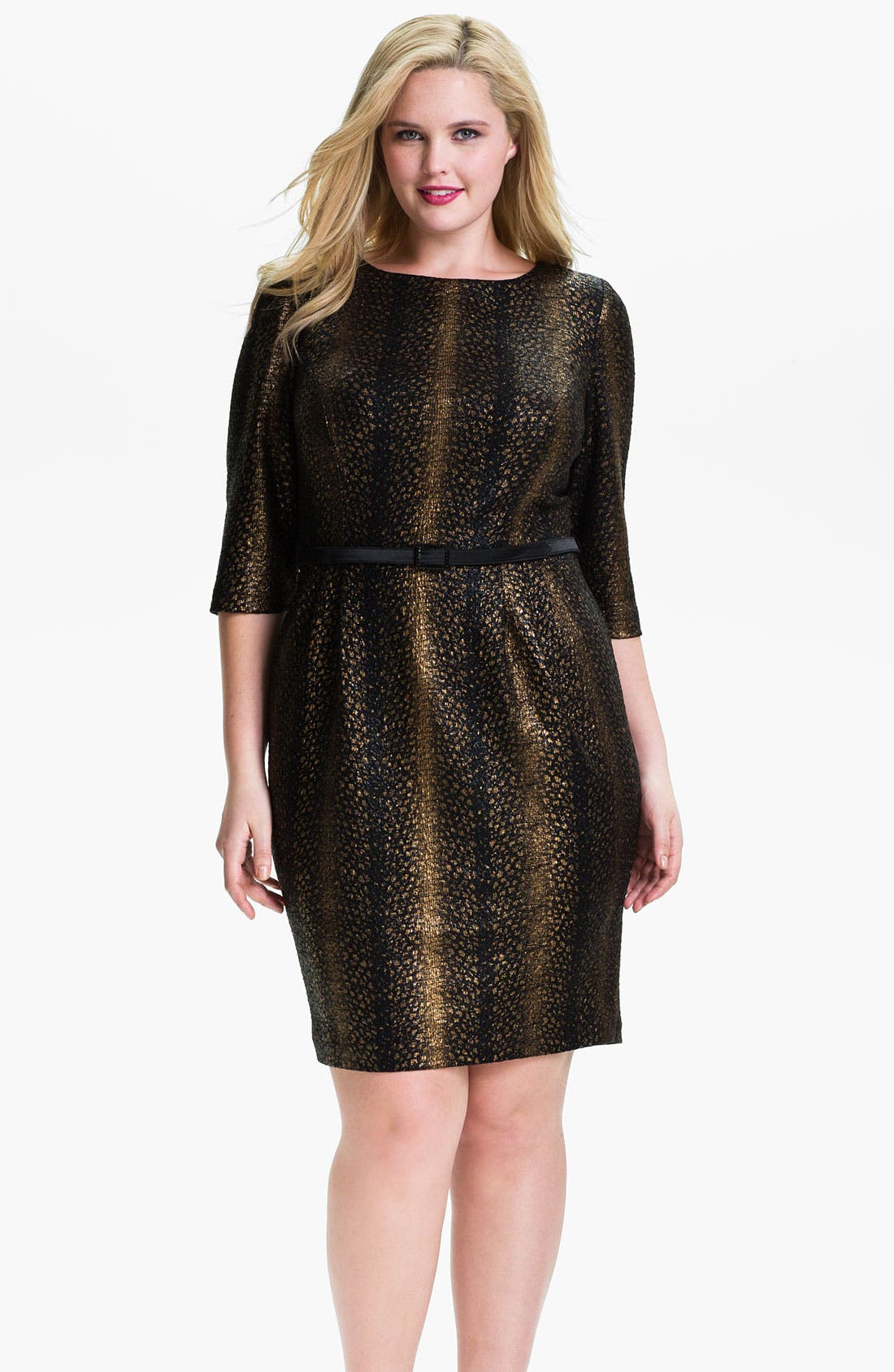 Main Image - Alex Evenings Belted Jacquard Sheath Dress (Plus)