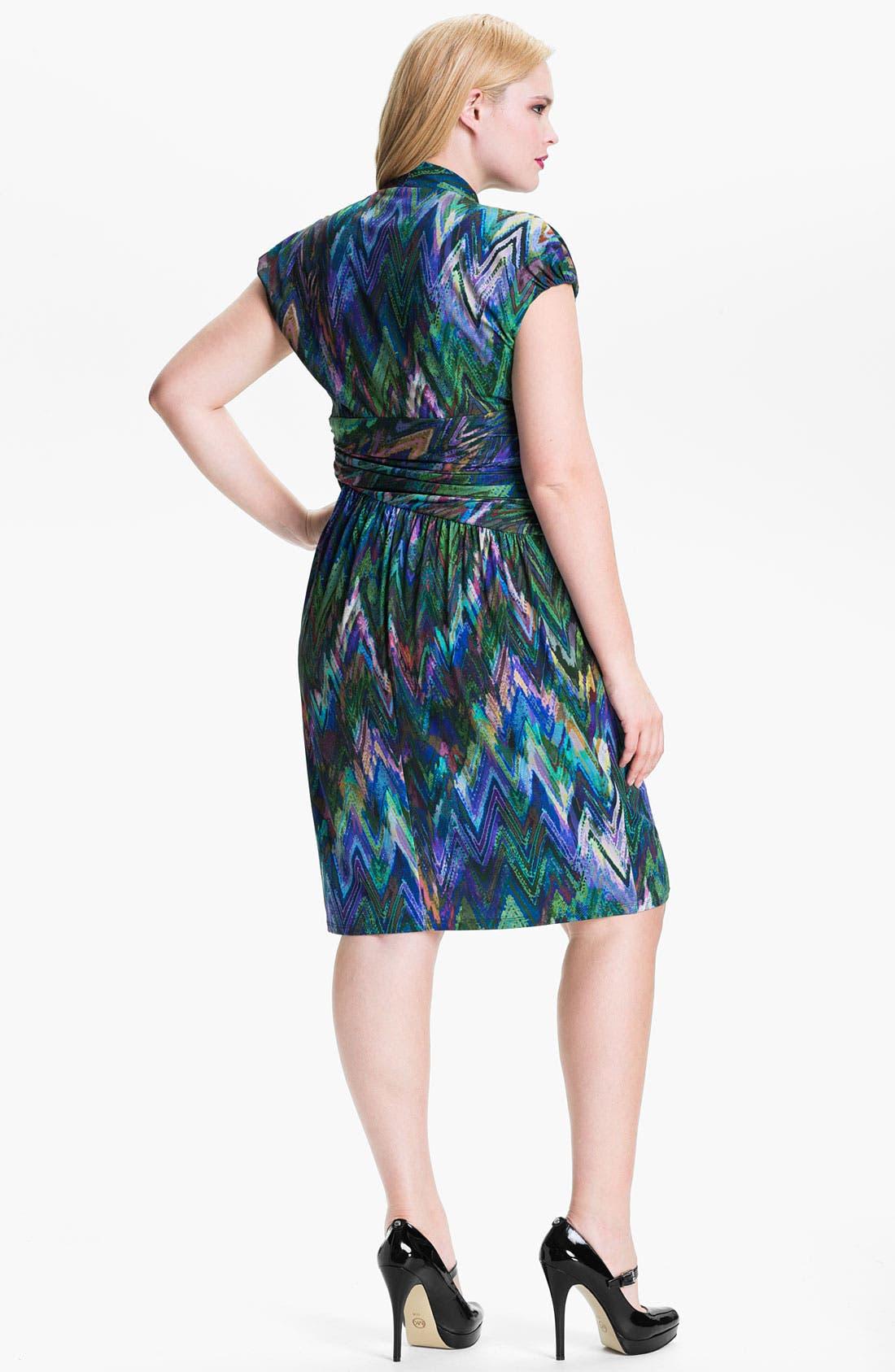 Alternate Image 2  - Suzi Chin for Maggy Boutique Print Surplice Sheath Dress (Plus)