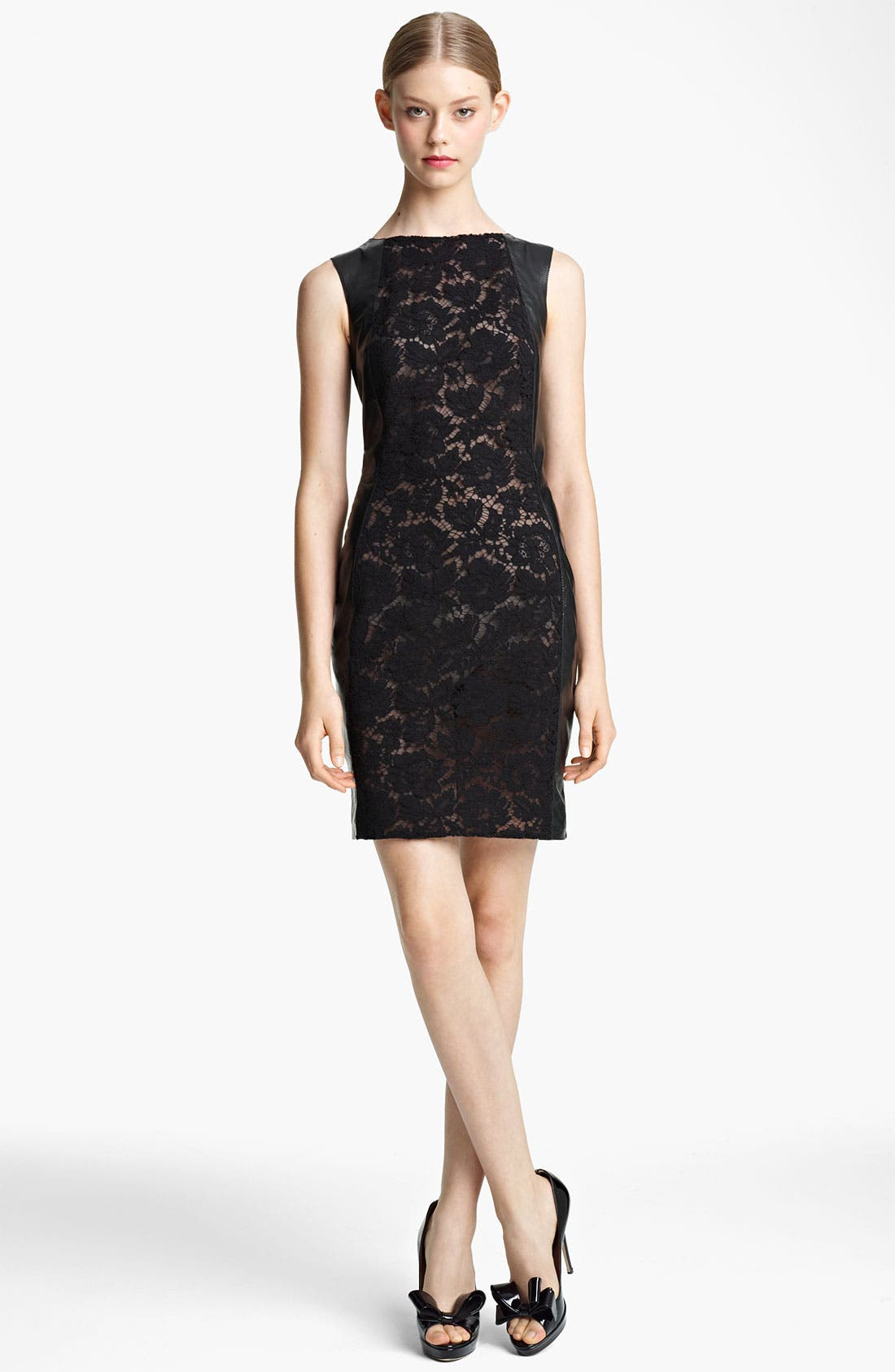 Main Image - Valentino Lace & Leather Sheath Dress
