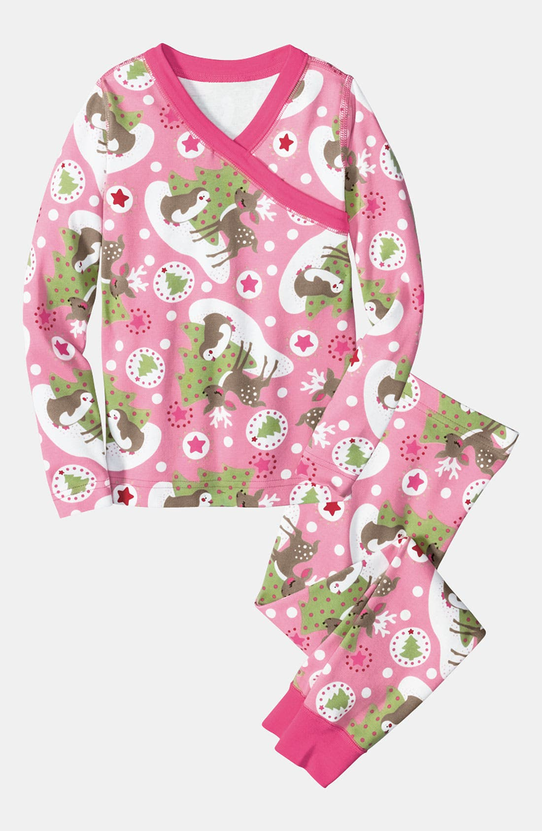 Main Image - Hanna Andersson Two Piece Fitted Pajamas (Toddler Girls)