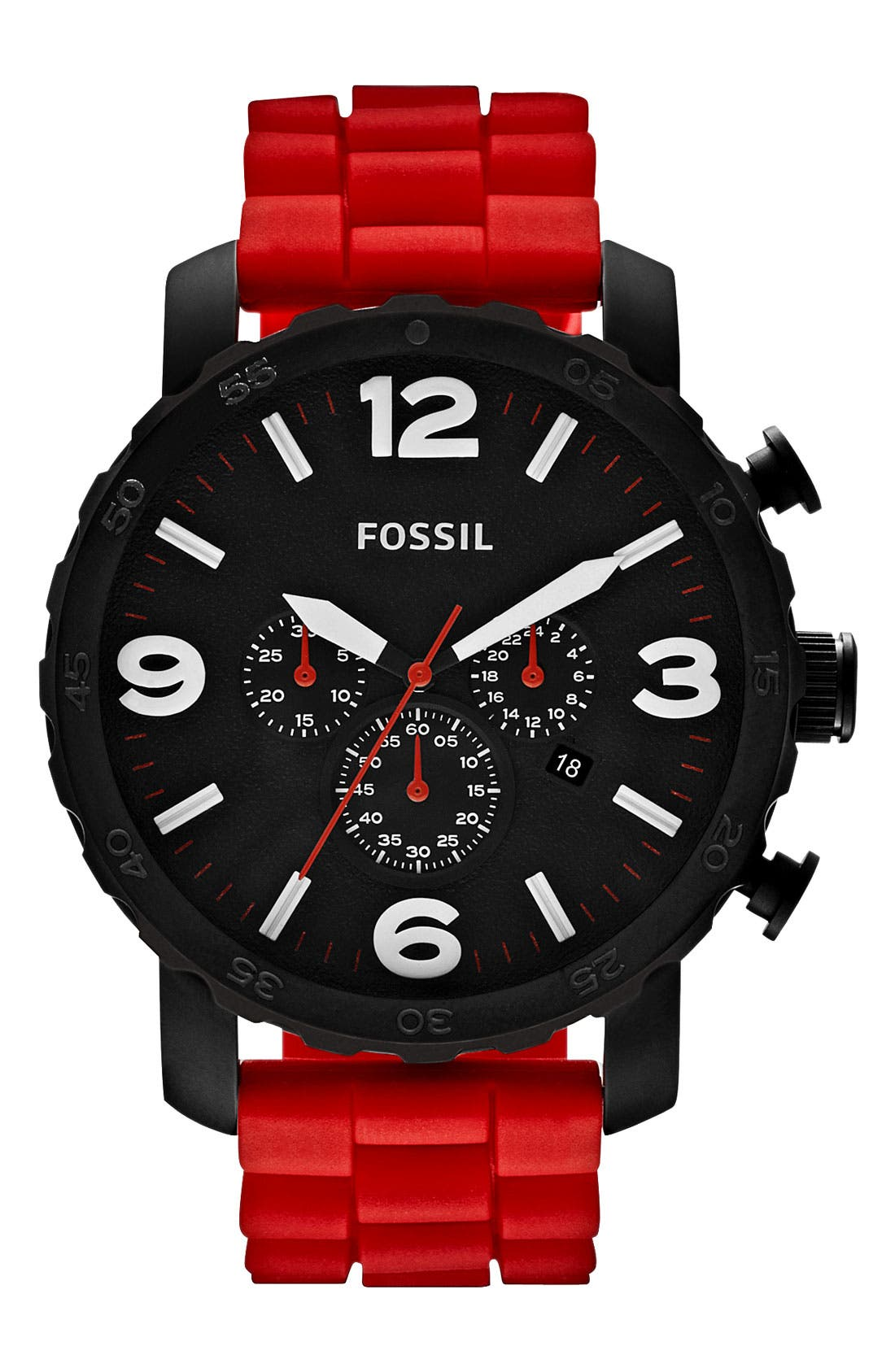 Alternate Image 1 Selected - Fossil 'Gage' Chronograph Silicone Strap Watch, 50mm