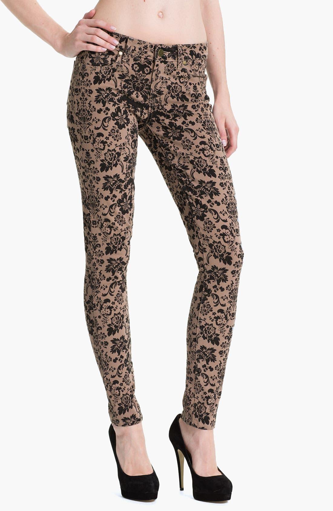 Main Image - Paige Denim 'Verdugo' Print Skinny Jeans (Chai/Black)