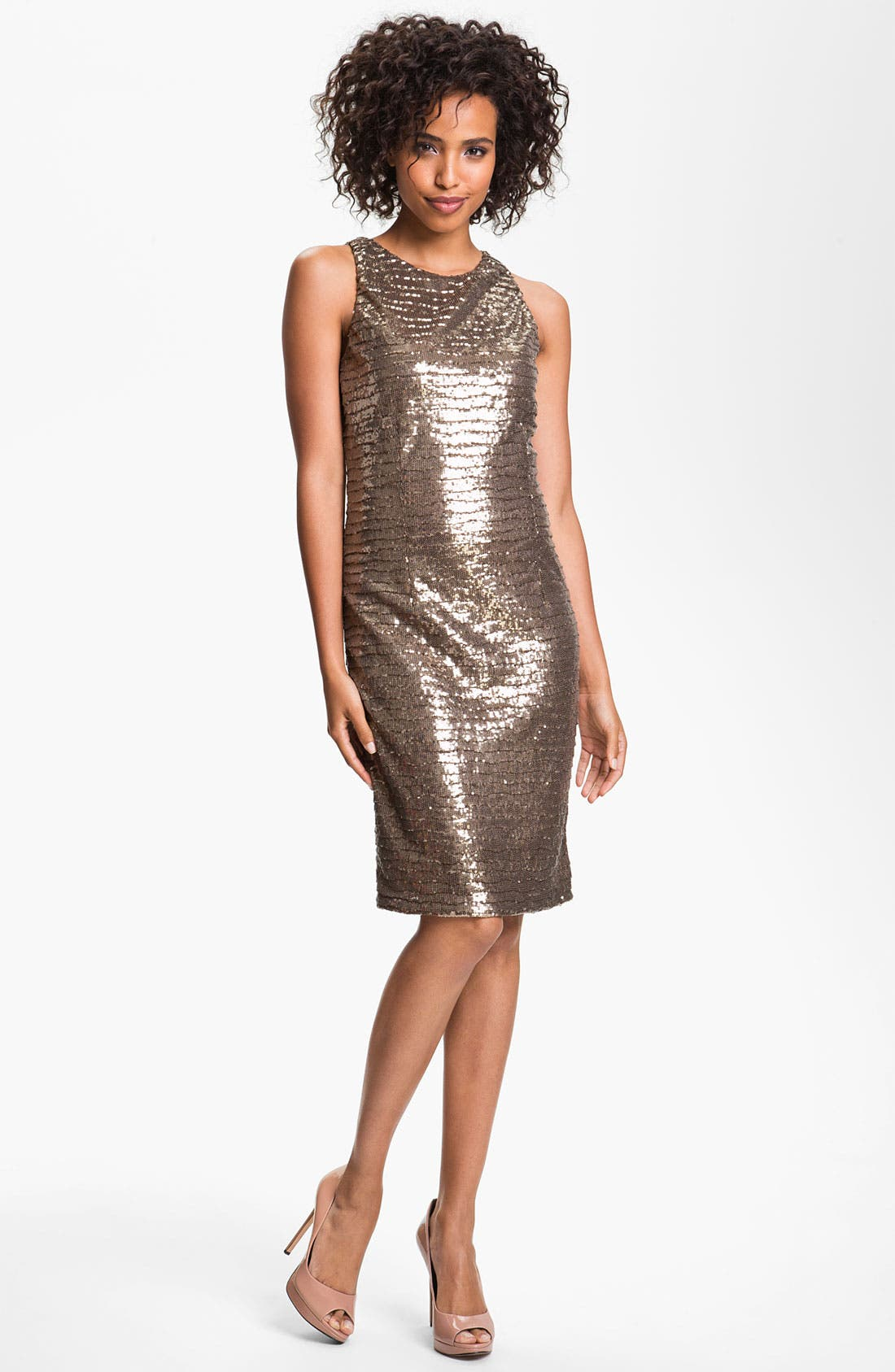 Main Image - Betsy & Adam Back Cutout Metallic Sequin Dress
