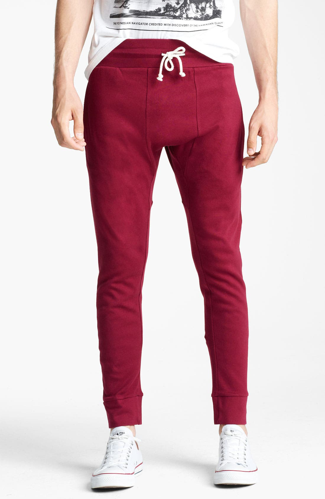 Main Image - Topman Jersey Cotton Cropped Athletic Pants