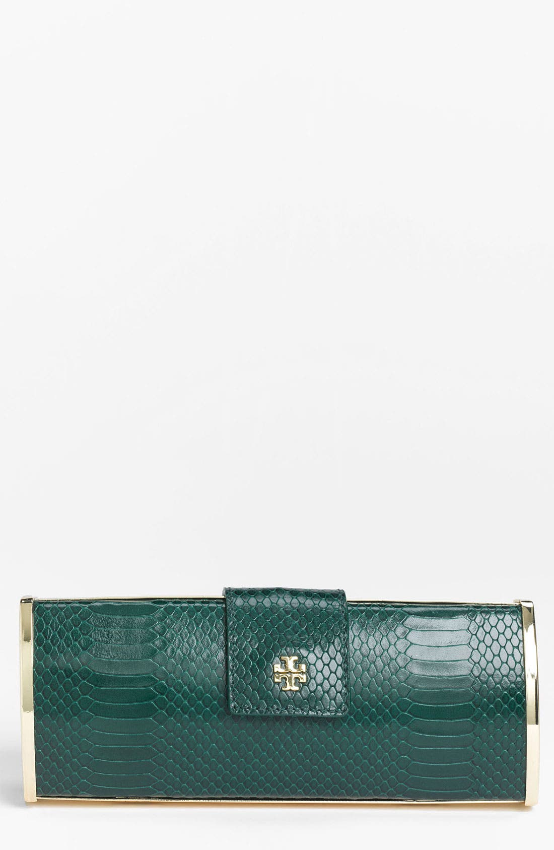 Main Image - Tory Burch 'Snake Roll' Embossed Clutch