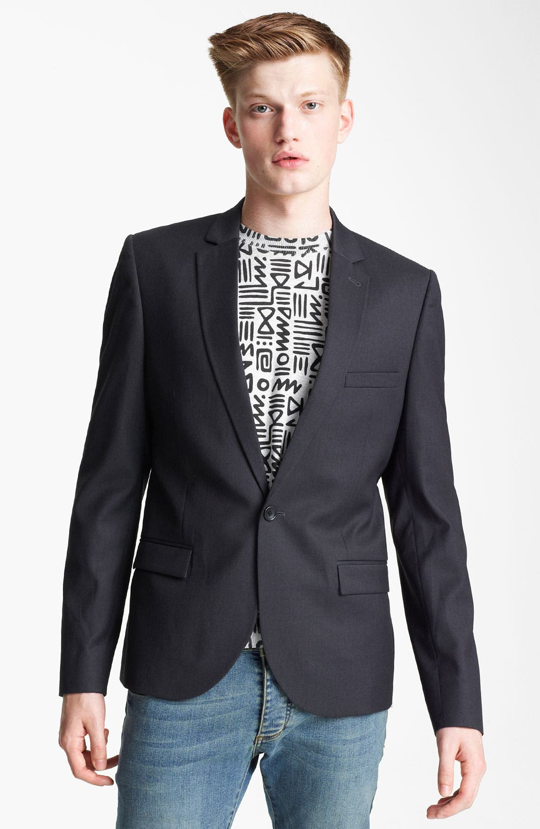Alternate Image 1 Selected - Topman Skinny One Button Blazer